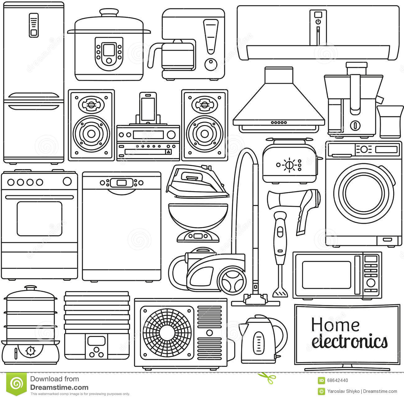 Set Of Line Icons. Home Appliances. Oven And Toaster, Fridge And ...