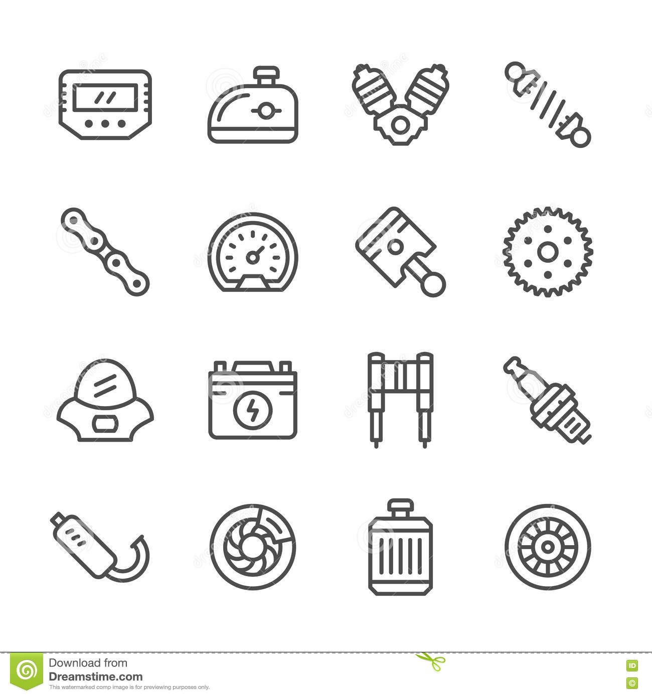 Set Line Icons Of Motorcycle Parts Stock Vector Illustration Of