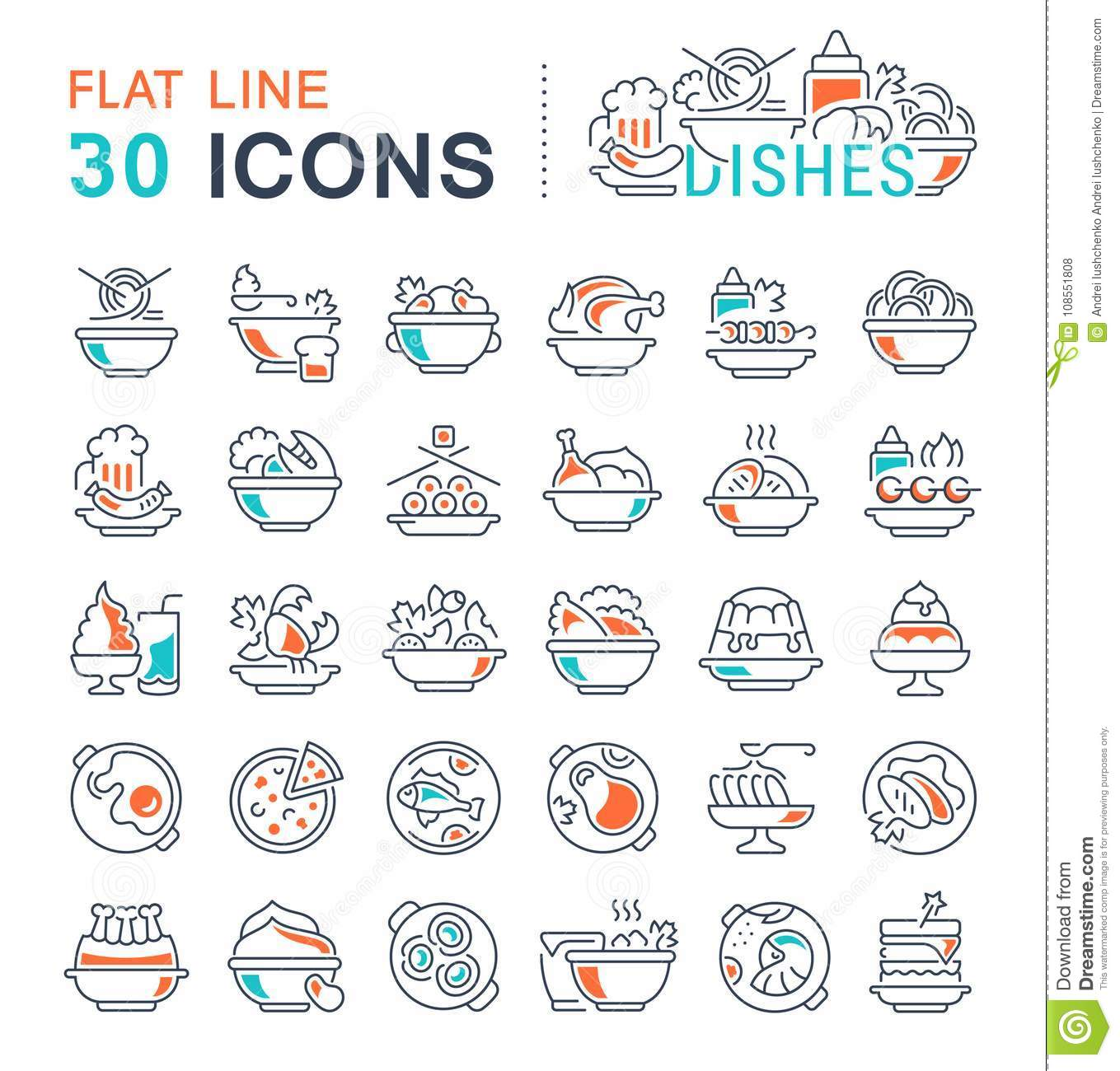 Set Vector Line Icons Of Dishes Stock Illustration Illustration