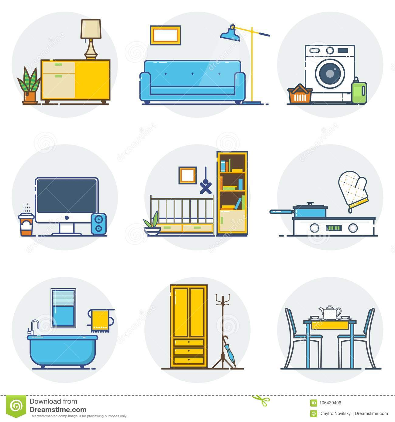 Set Of Line Interior Design Icons Sign And Symbols In Flat Royalty Free Vector