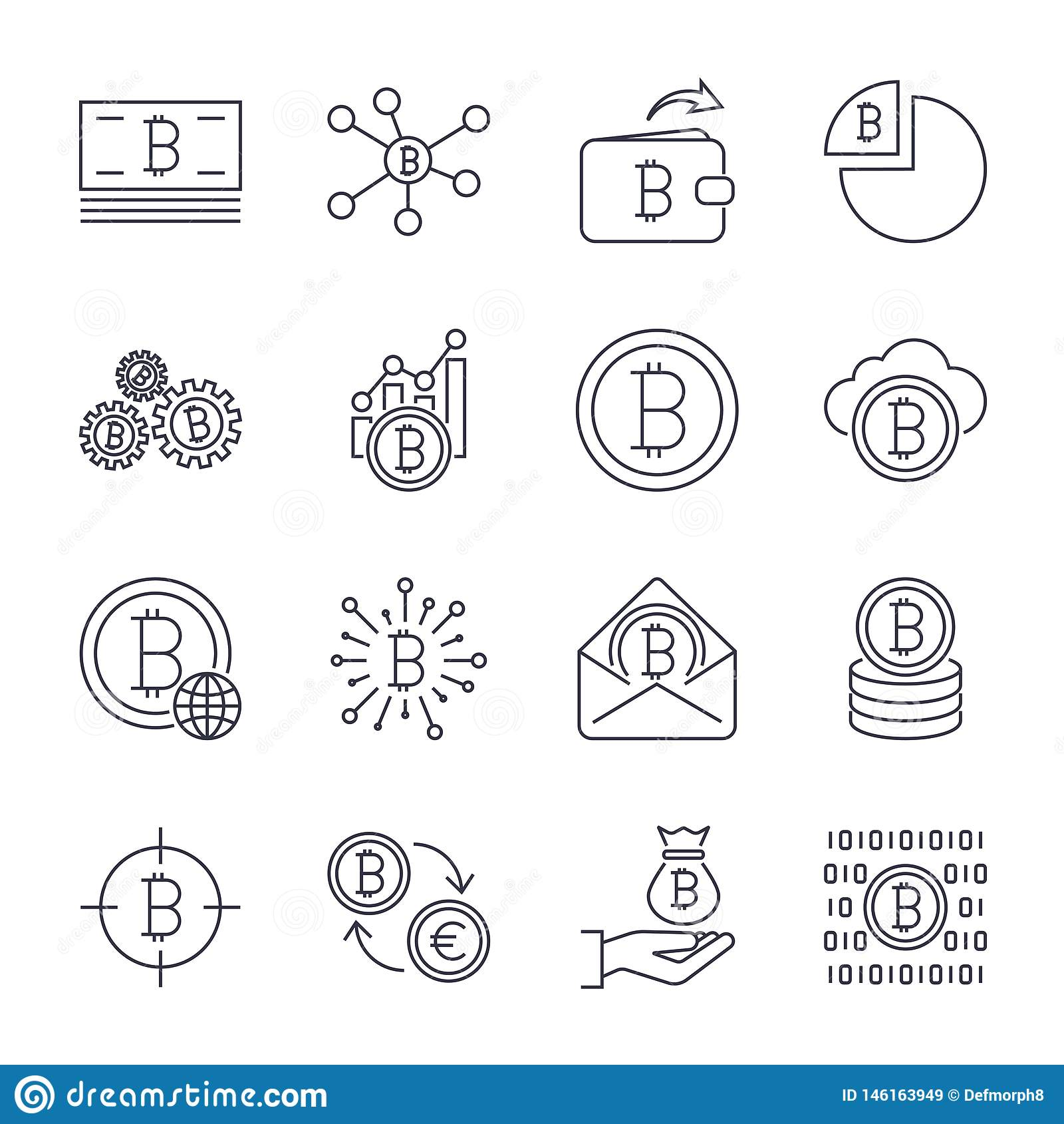 Set of line stroke vector bitcoin and cryptocurrency icons. Mining, coin, pickaxe, gold, money, exchange. Icons set for