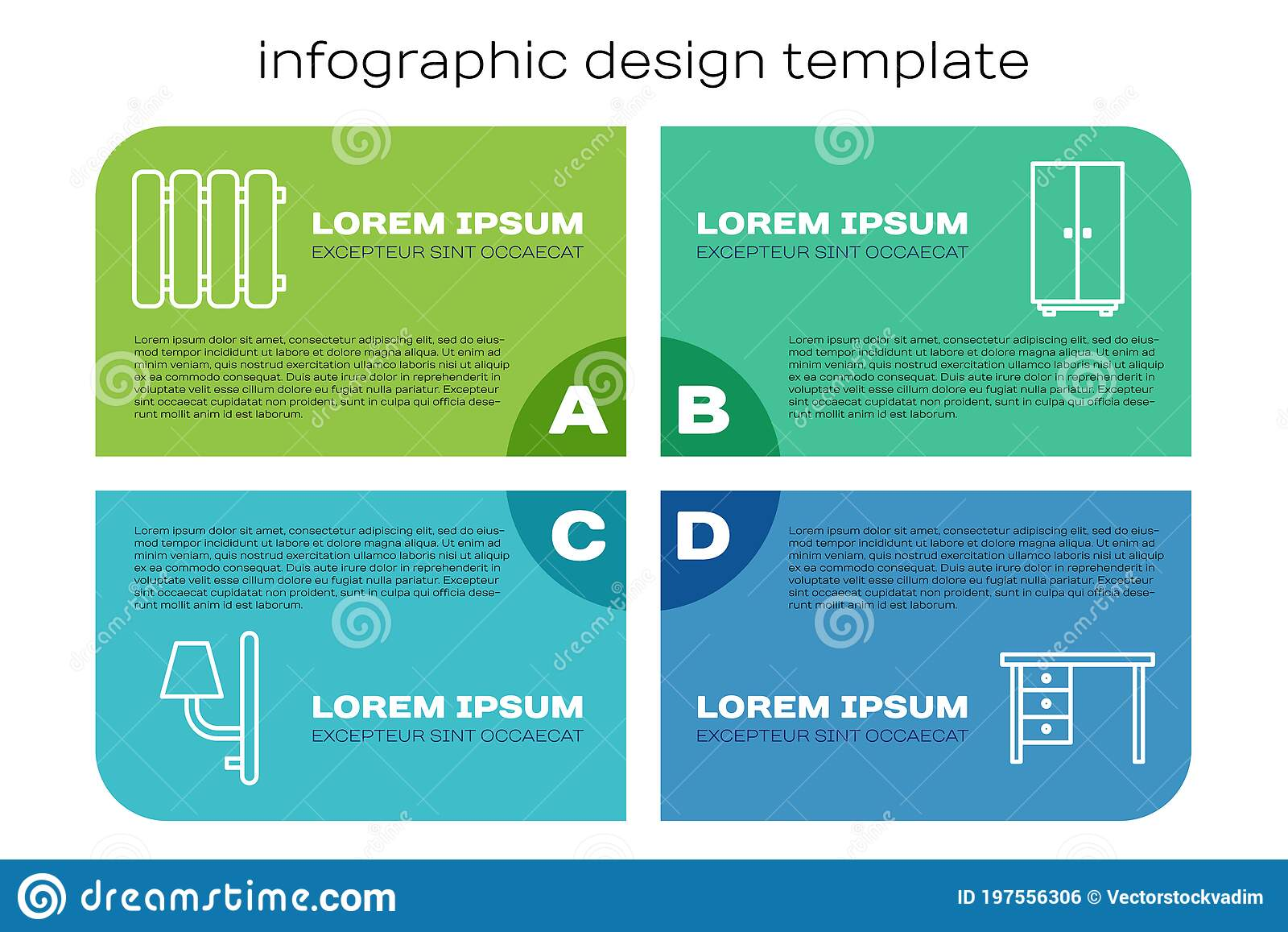 Set Line Wall Sconce Heating Radiator Office Desk And Wardrobe Business Infographic Template Vector Stock Vector Illustration Of Metal Infographic 197556306