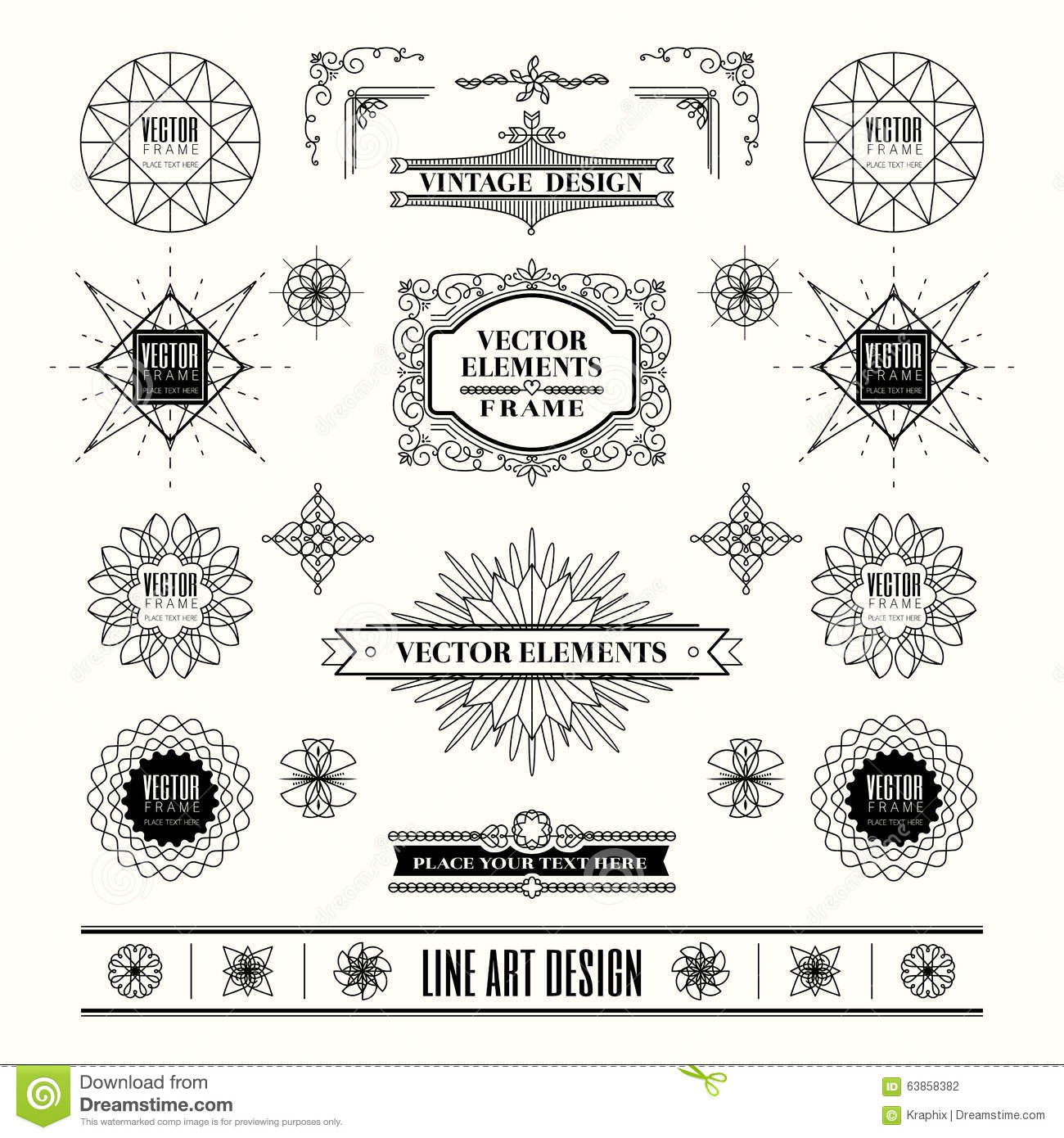 Drawing Lines Shapes Or Text On Bitmaps : Set of linear line art deco retro vintage design frame