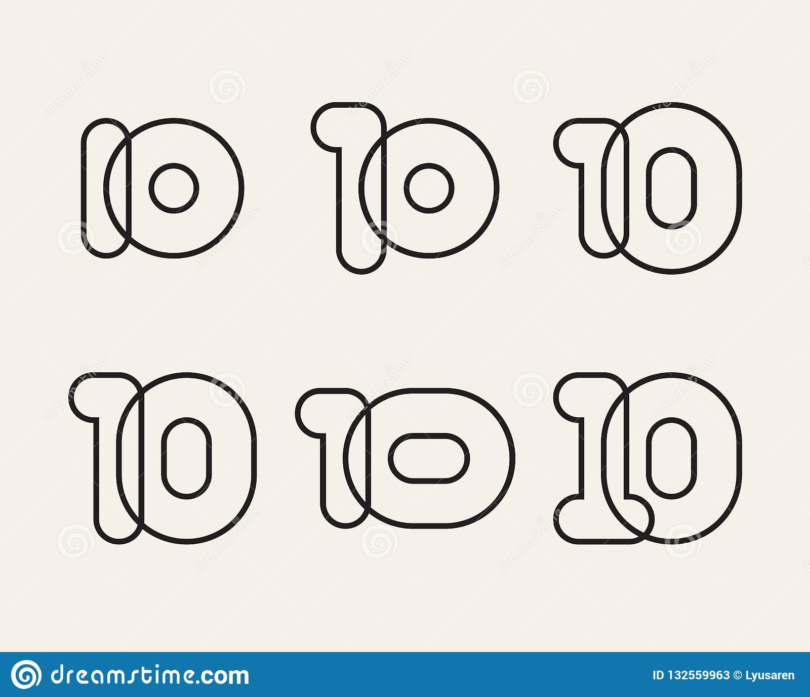 Set Of Linear Numbers 10, Vector Rounded Figures Stock