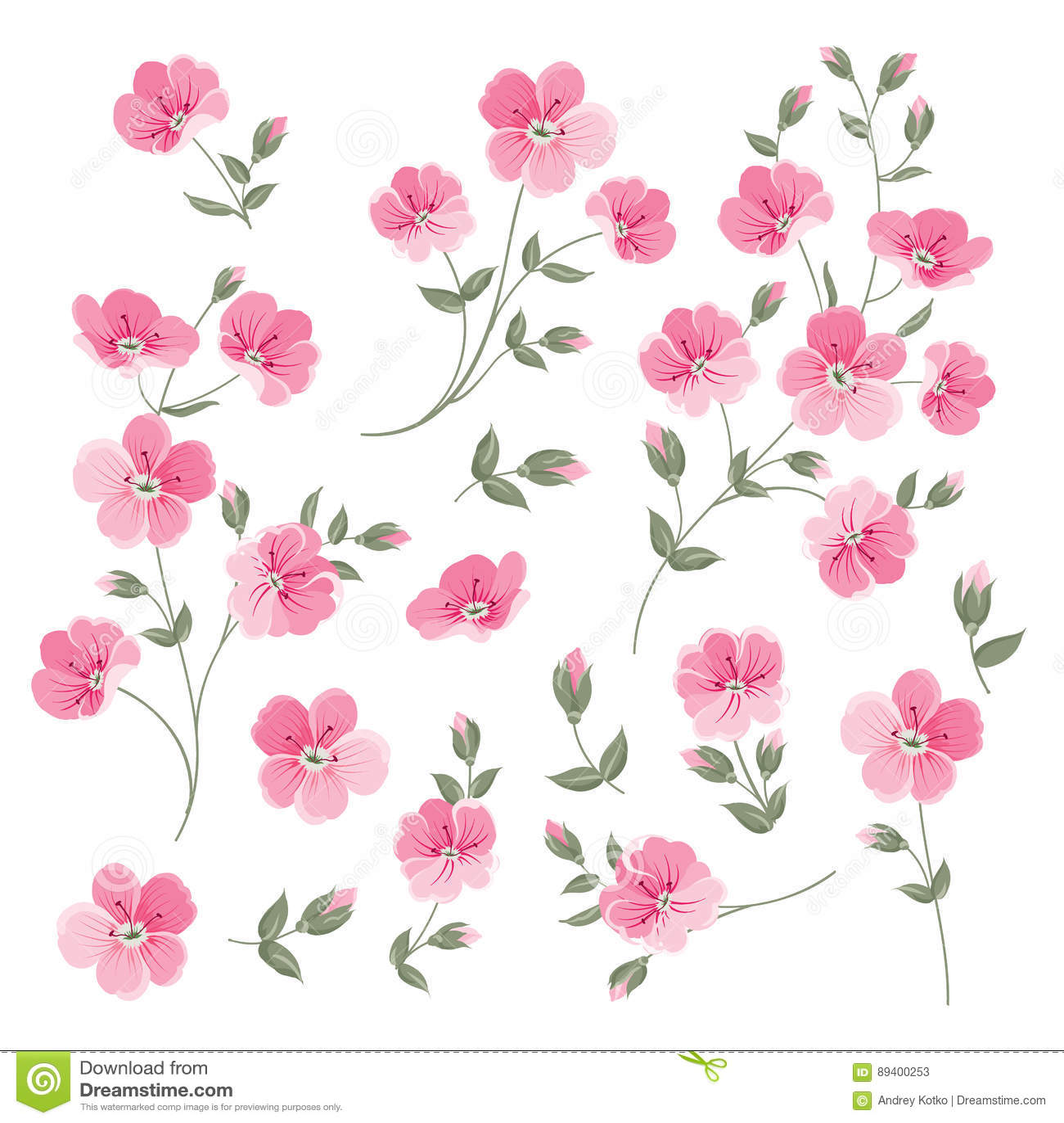 Set of Linen flowers elements.