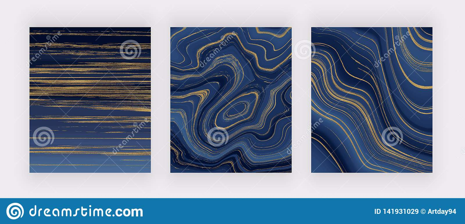 Set liquid marble texture. Blue and golden glitter ink painting abstract pattern. Trendy backgrounds for wallpaper, flyer, poster,