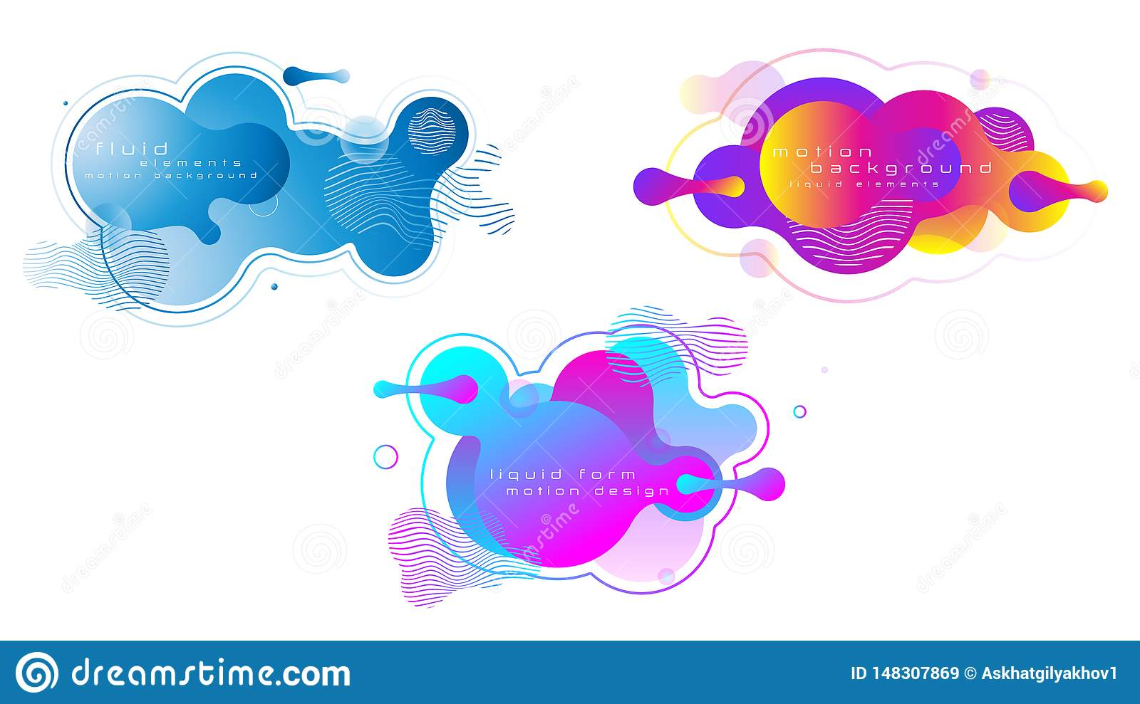 Set of liquid vivid color abstract geometric shapes.