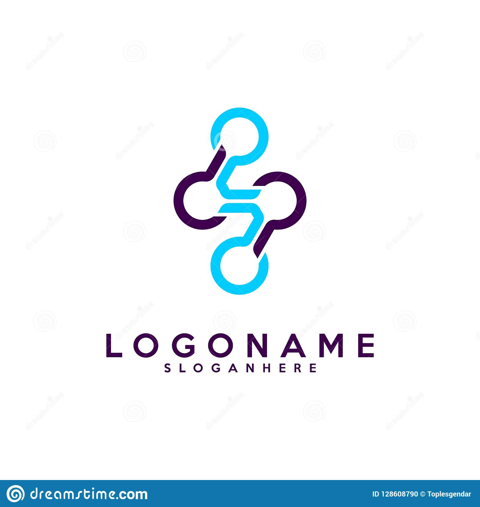 Set Listowego S logotyp, technologia i cyfrowej abstrakcjonistycznej kropki podłączeniowy wektorowy logo,