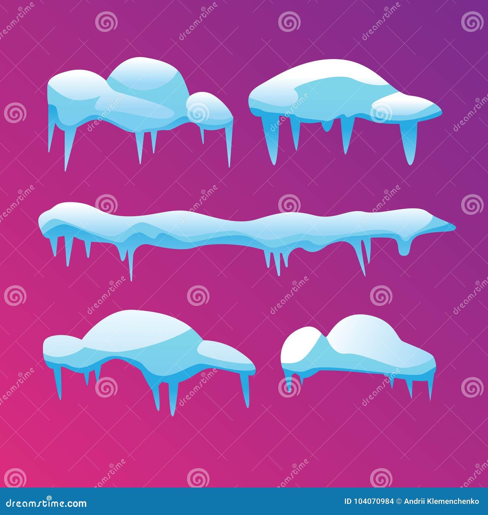 Set lodowaci sople z ostrymi końcówkami również zwrócić corel ilustracji wektora
