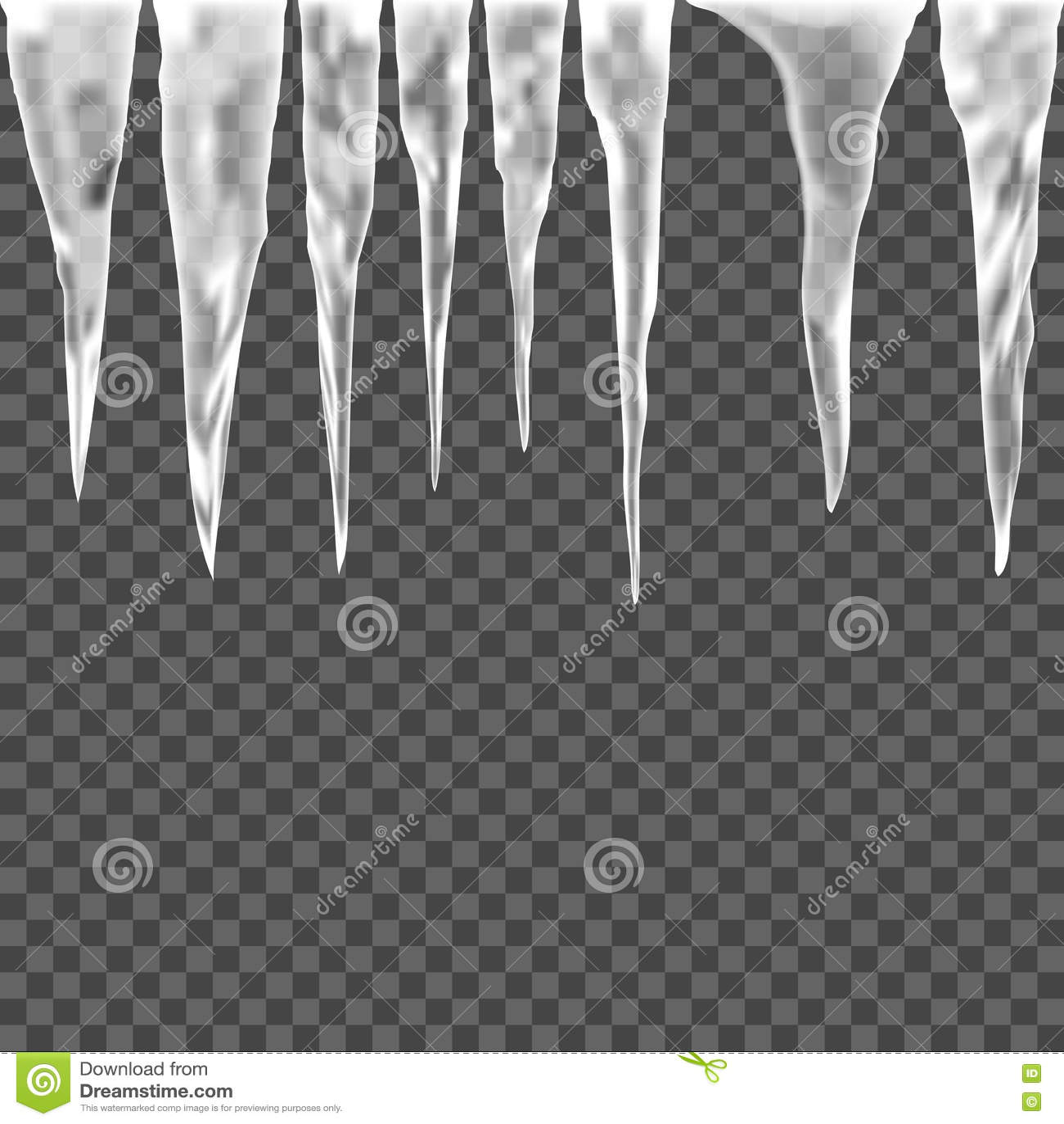 Set lodowy sopel na przejrzystym tle