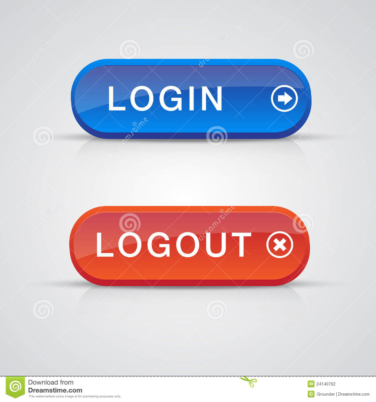Set of login logout buttons - red, blue