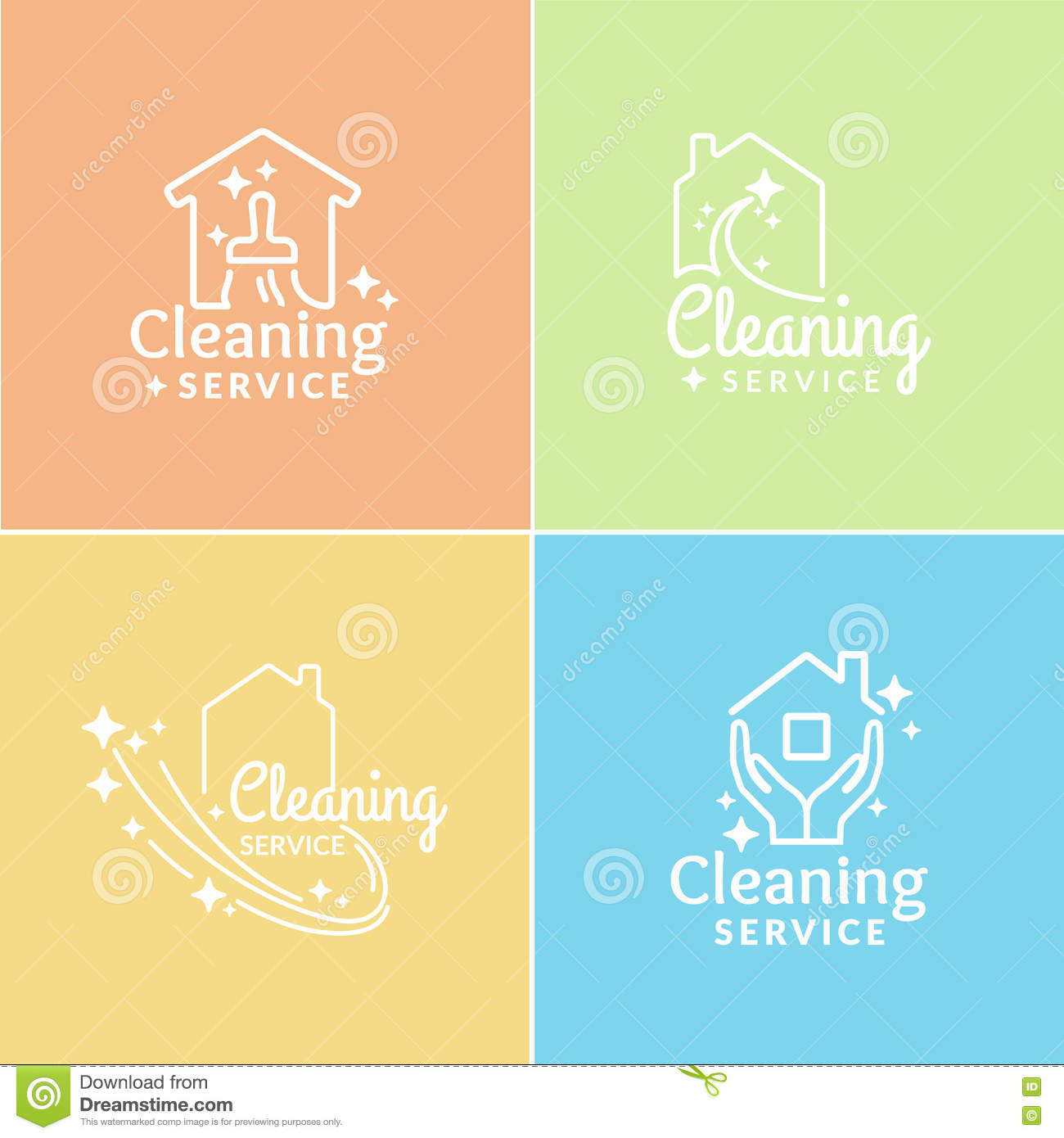 Set Of Logo Cleaning Service Stock Vector Image 70950084