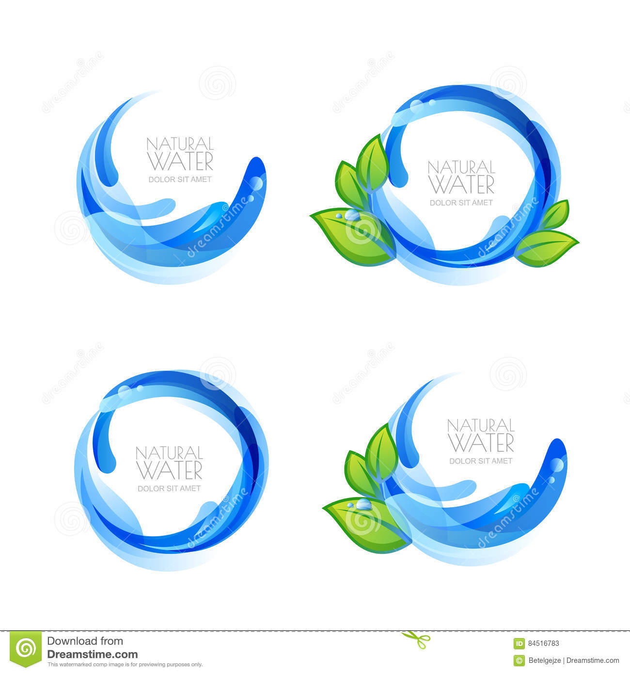Download Set Of Logo, Icon Design Elements With Natural Clean Water Drops And Green Leaves. Stock Vector - Illustration of clear, business: 84516783