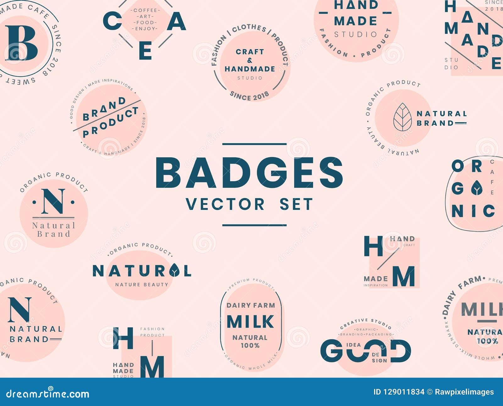 Set logo odznaki projekta wektory