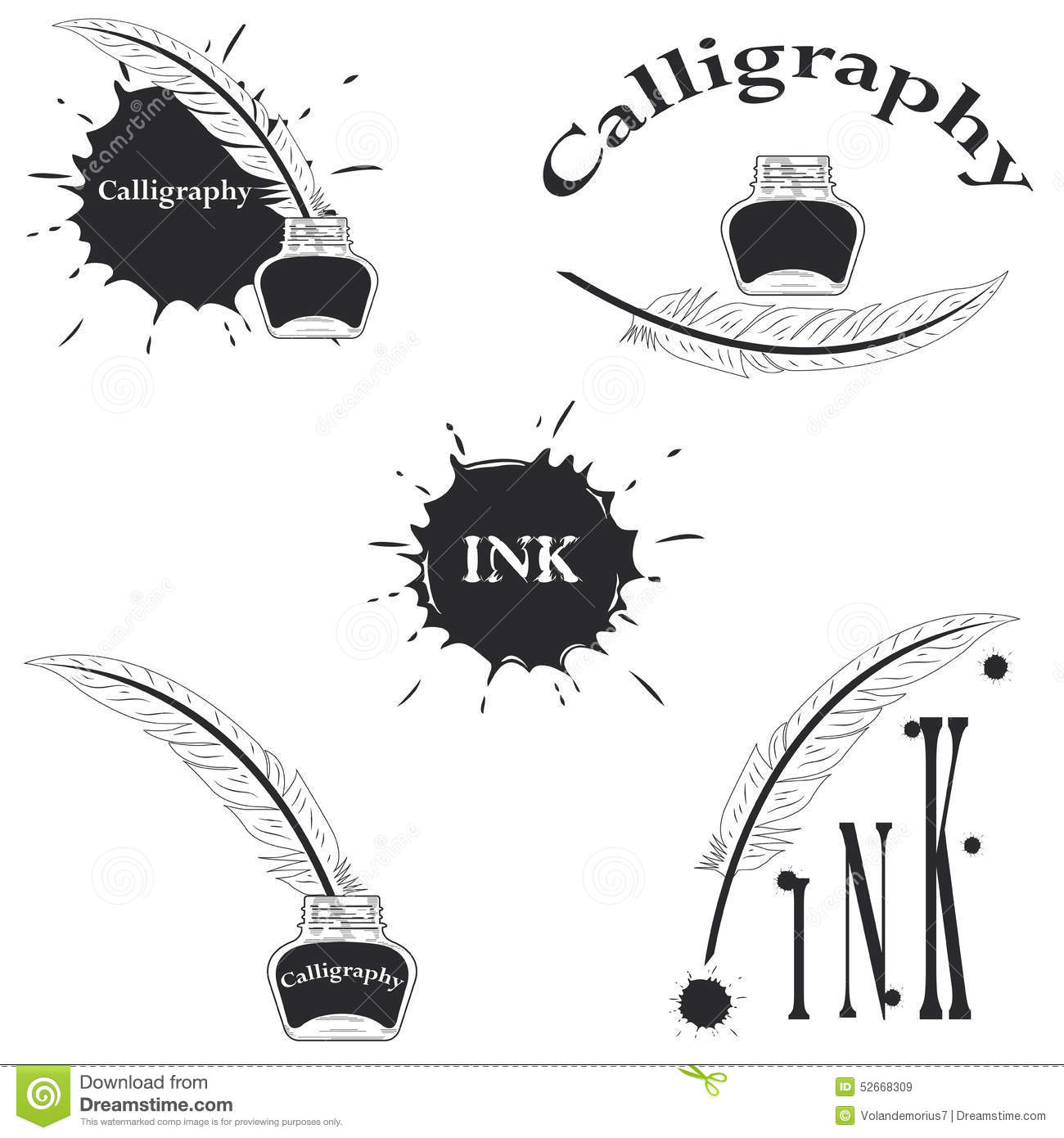 Set of logos for calligraphy stock vector image