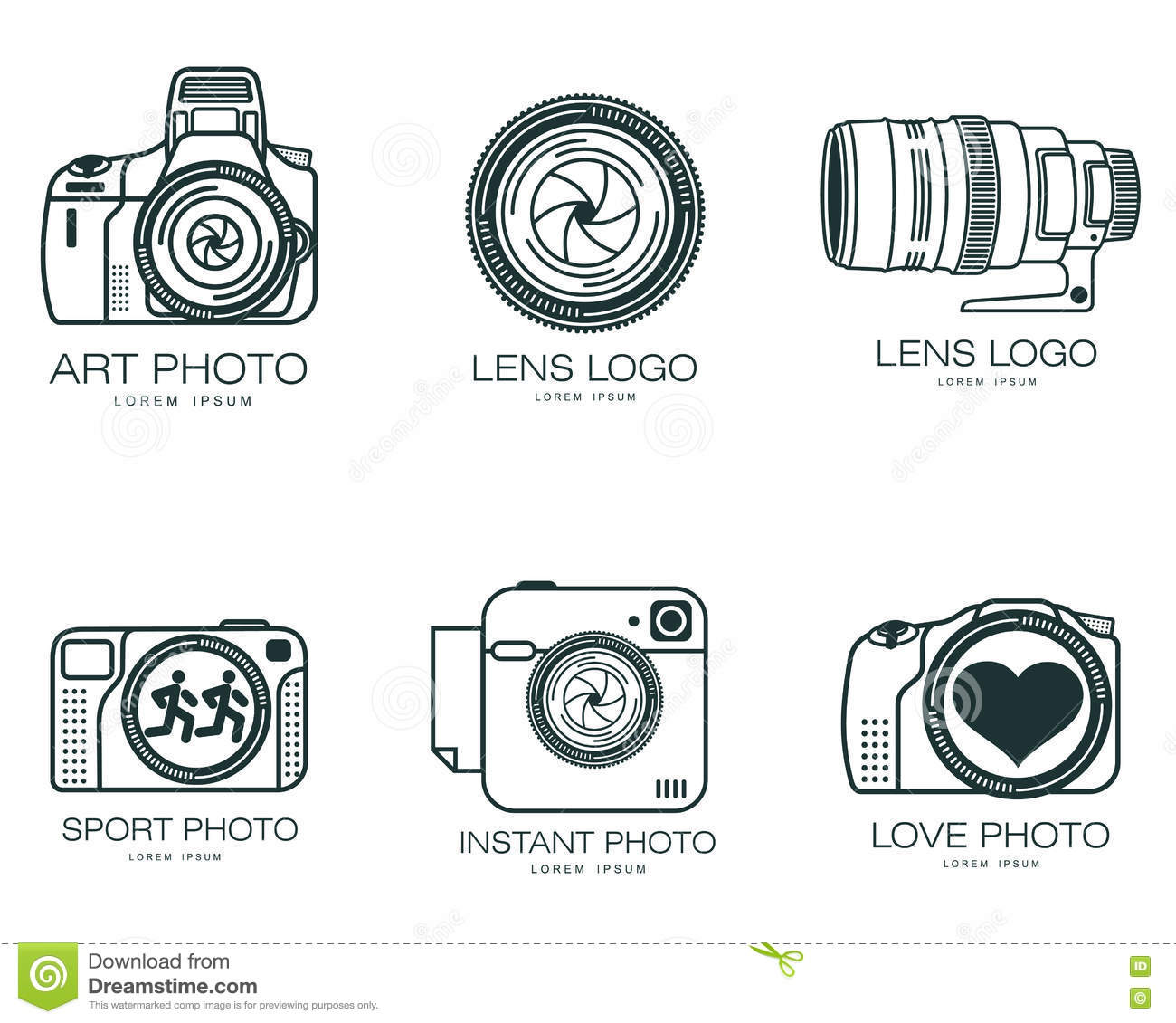 set of logos with the camera stock vector image 73538310
