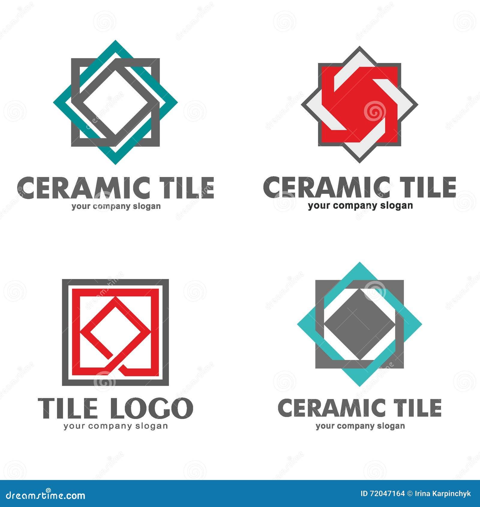 Covering tiles in bathroom - Set Of Logos Of Ceramic Tiles Vector Illustration Stock