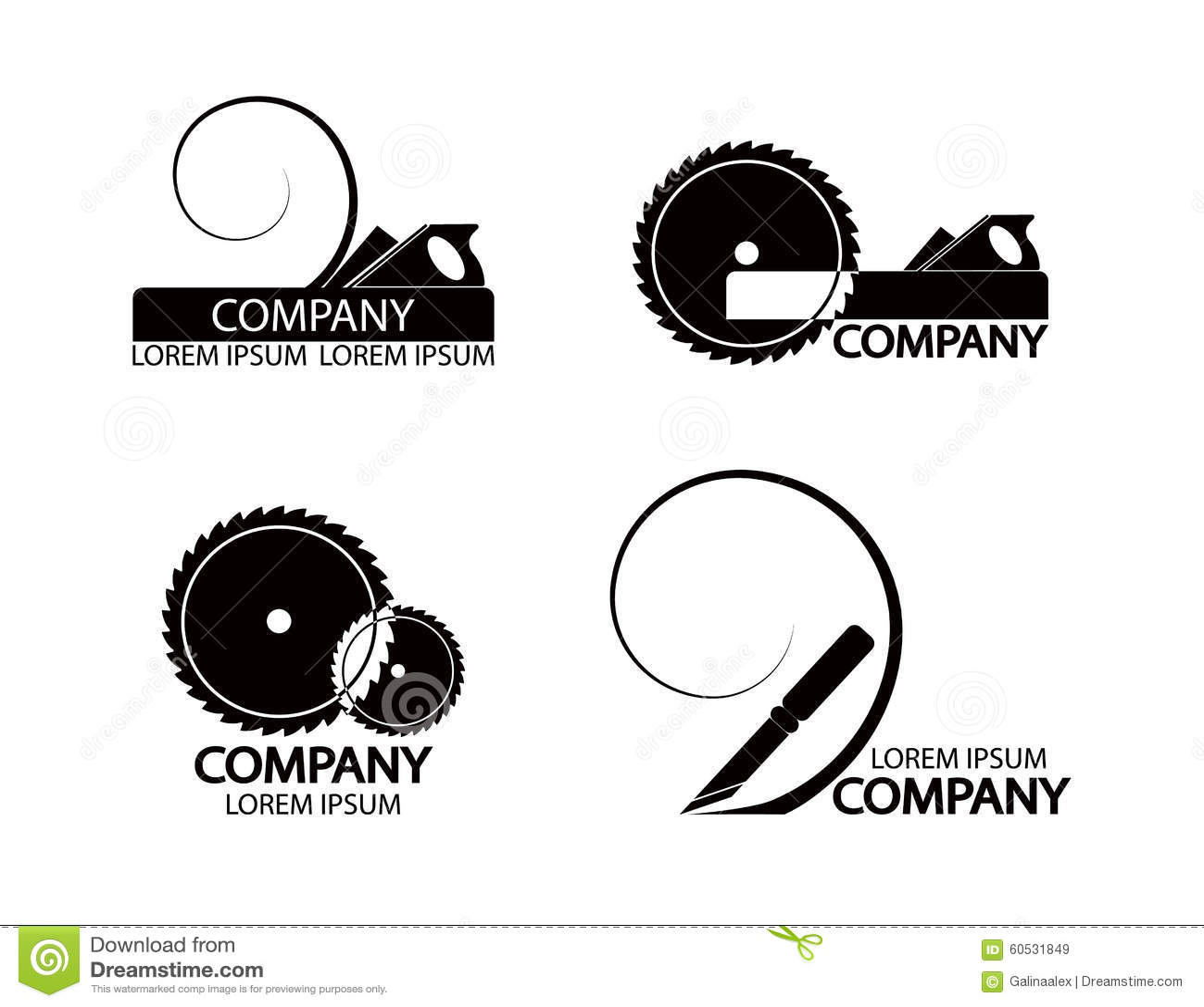 Vintage Flat Travel Logo Set: A Set Of Logos, Emblems Of Joiner's Tools. Stock Vector
