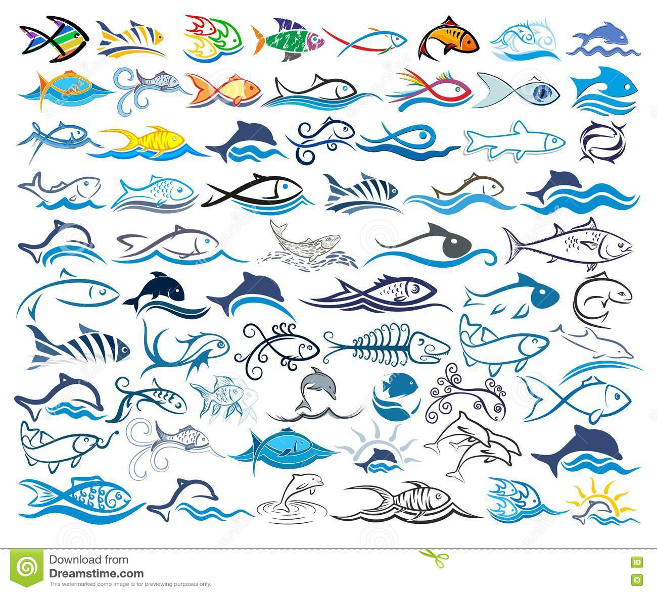 Set logos with fishes.