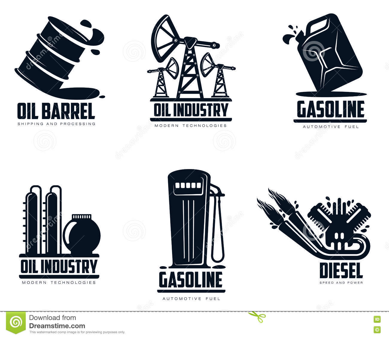 Set Of Logos With Oil And Petrol Station Stock Vector