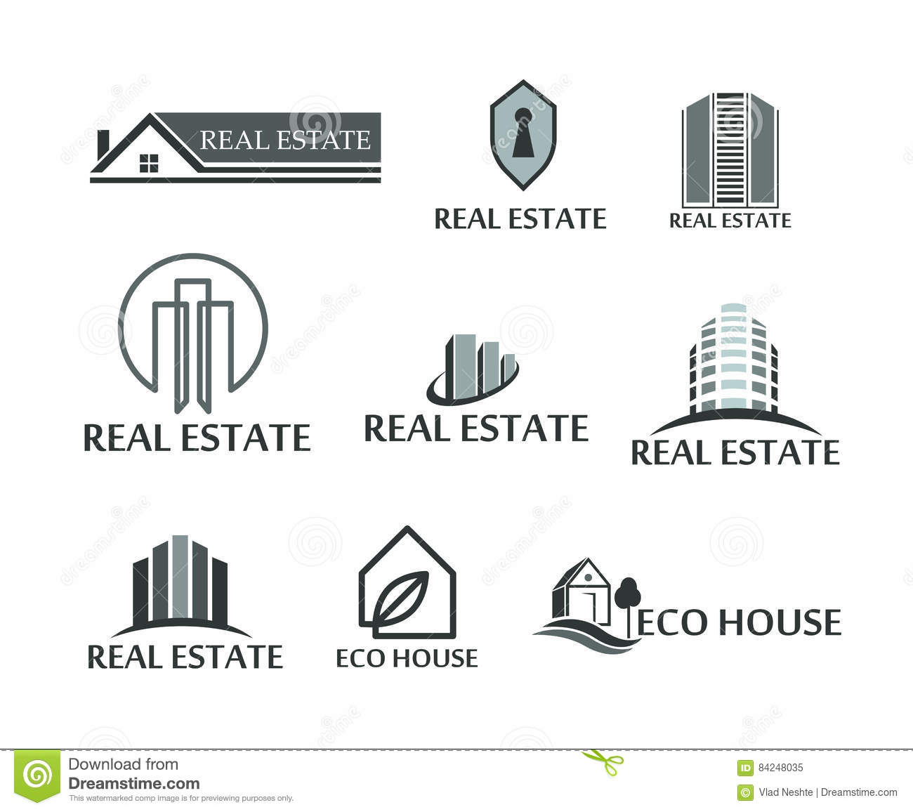 Set Of Logos Real Estate Eco House Logos In Vector On White Stock