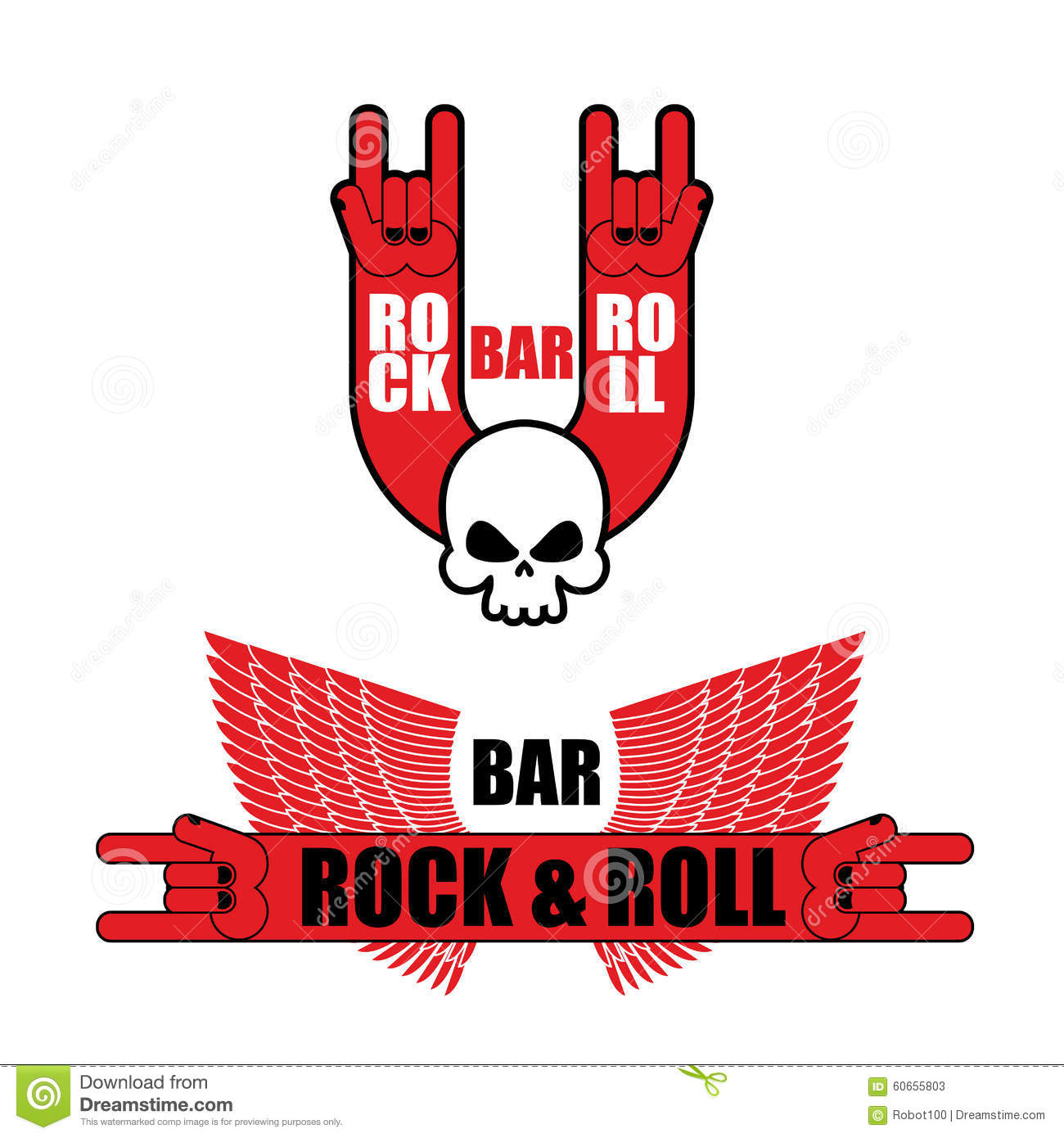 set of logos for rock and roll bar hand rock sign and