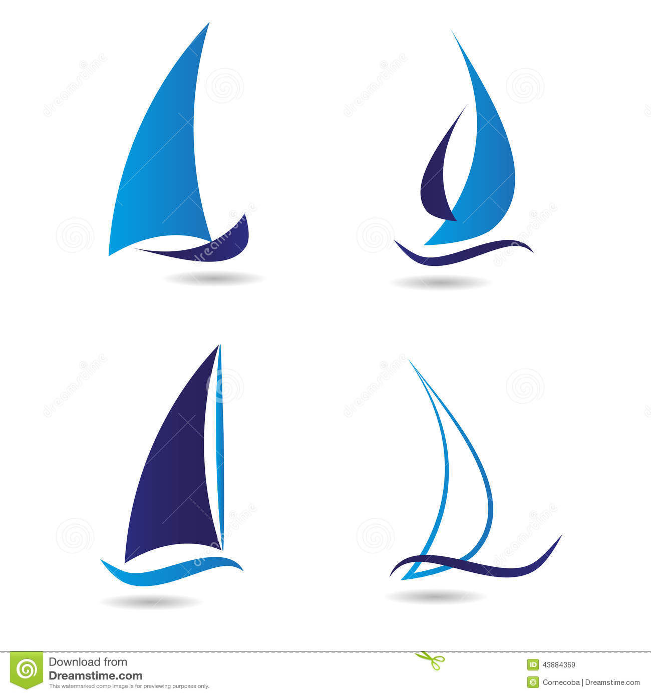 Set Logos Sailboat Or Navigation Stock Illustration ...