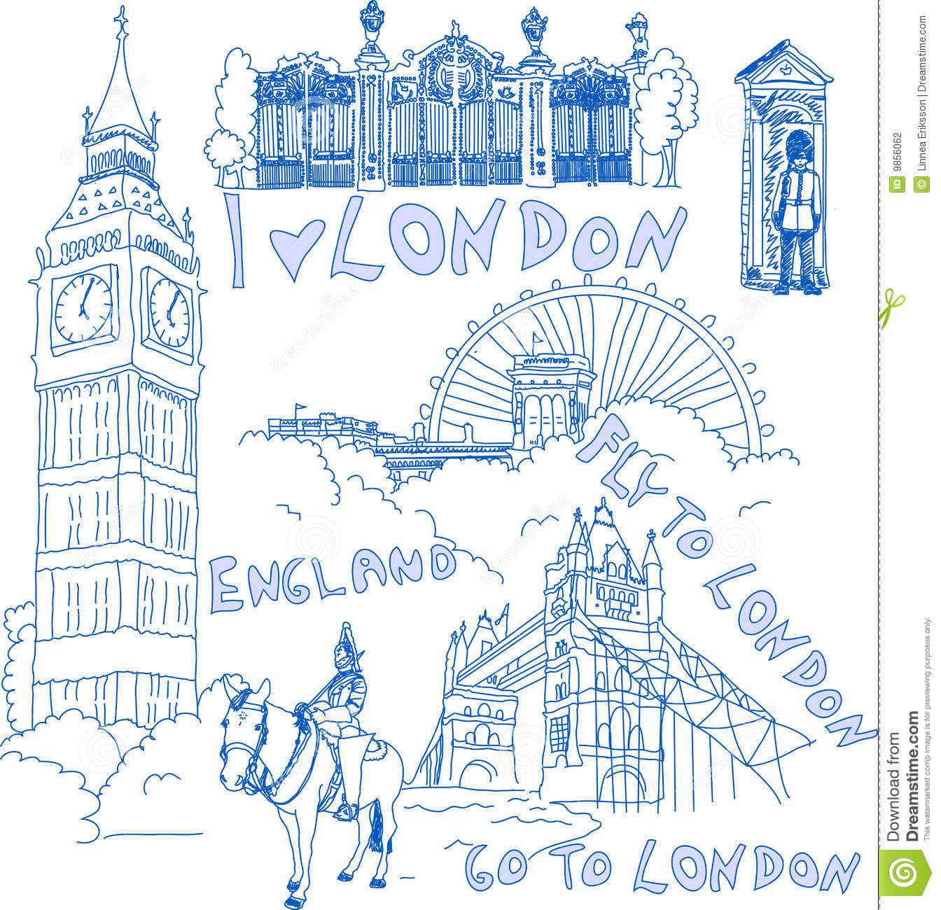 Cute doodles of typical London sights. Available both as jpeg and ...