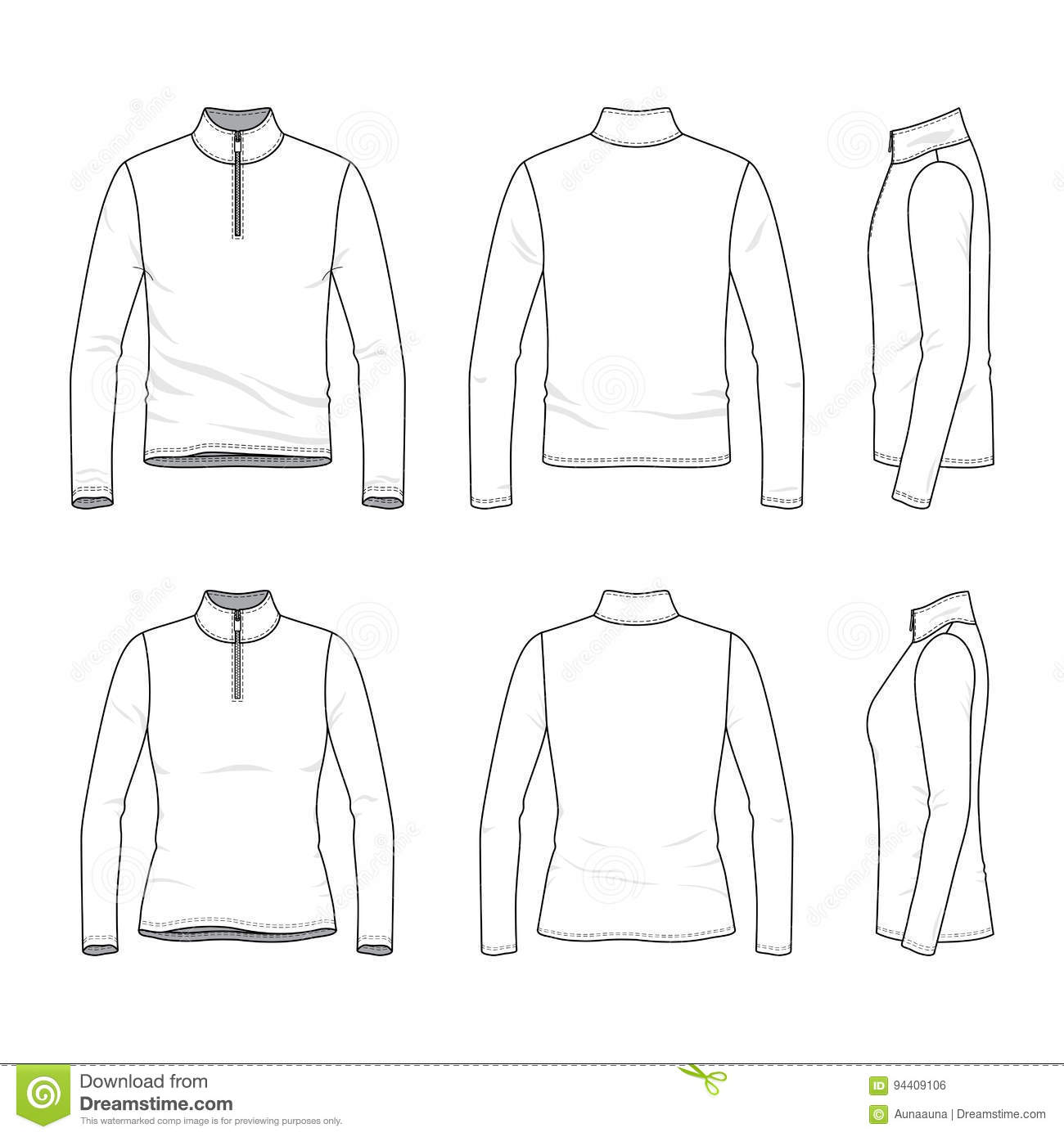 9d214cc81f7 Set Of Long Sleeved T-shirt With Zipper. Stock Vector - Illustration ...