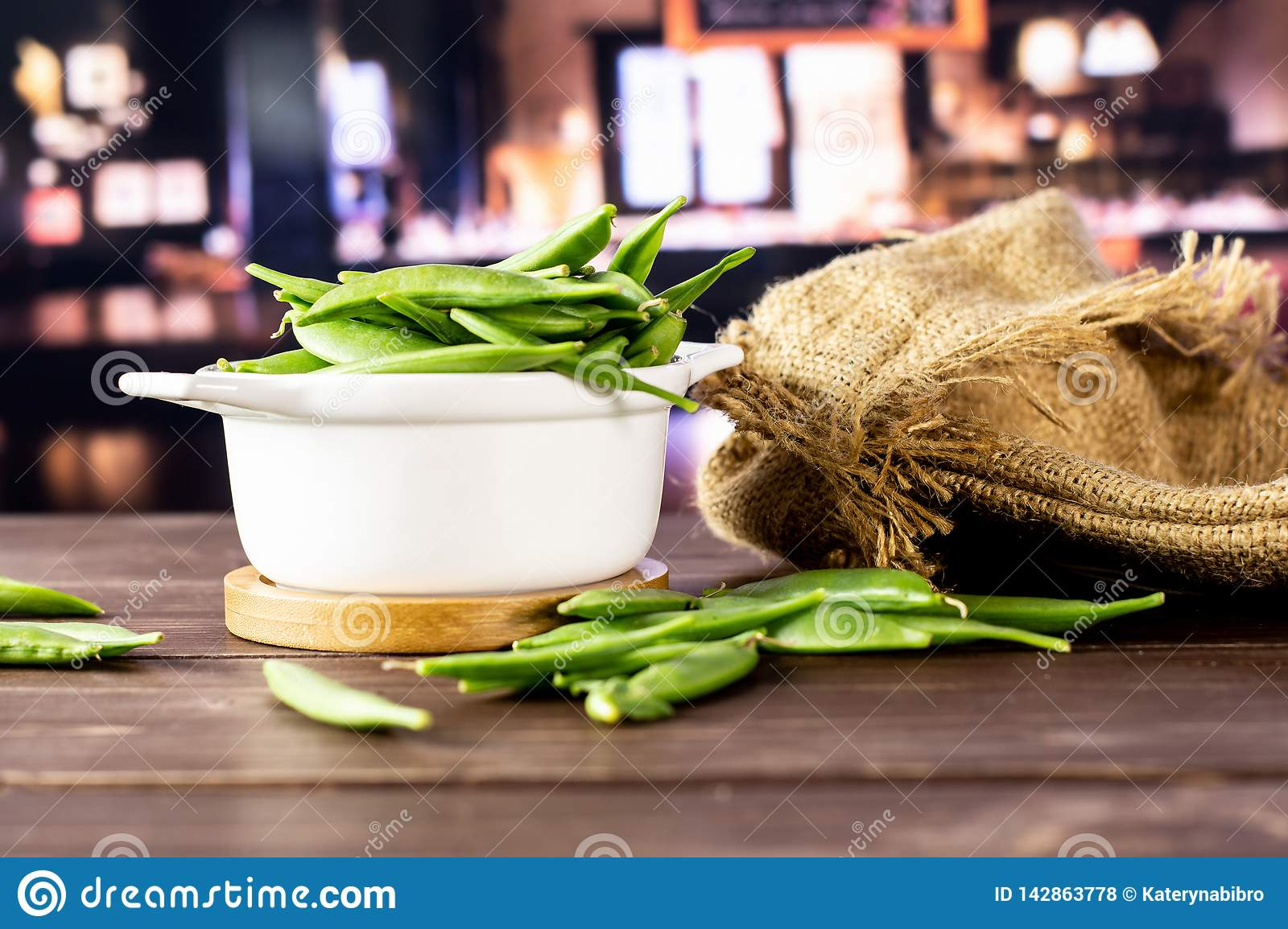 Green Sugar Snap Pea With Restaurant Stock Photo Image Of Background Saucepan 142863778
