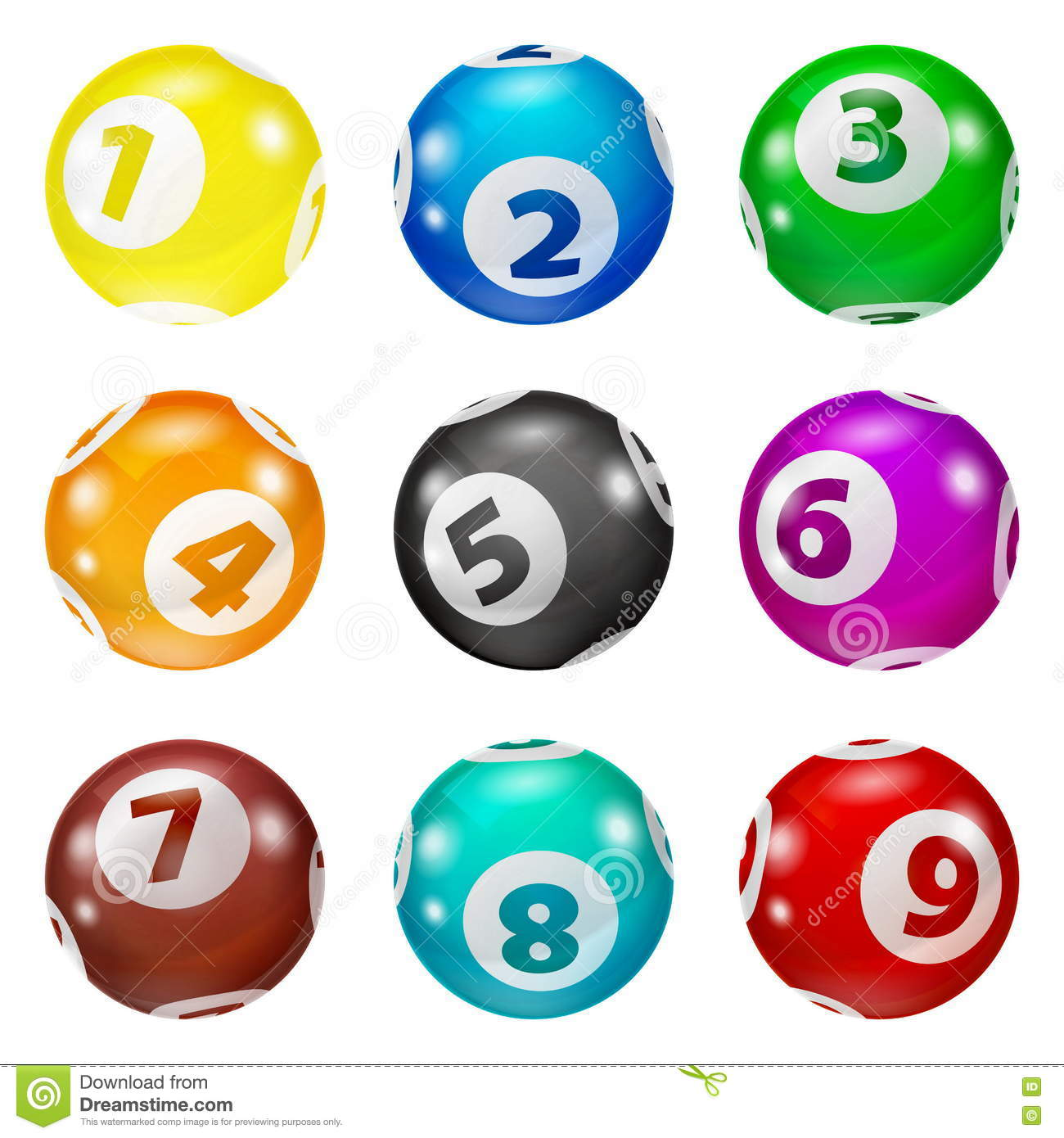 Set Of Lottery Colored Number Balls Stock Vector