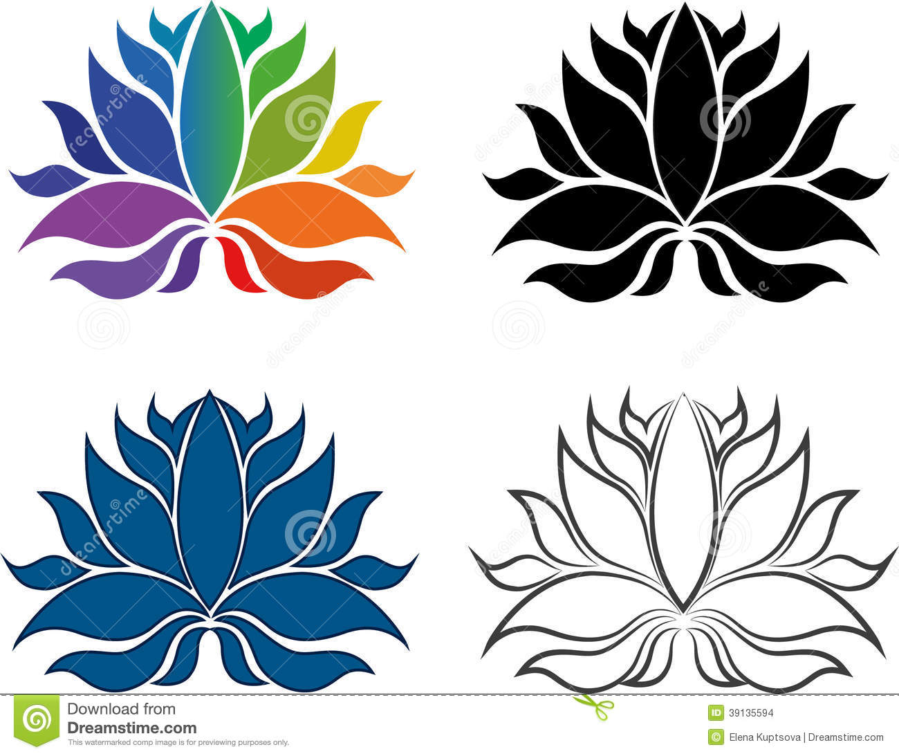 Stylish Lotus Flowers Seamless Background Stock Vector