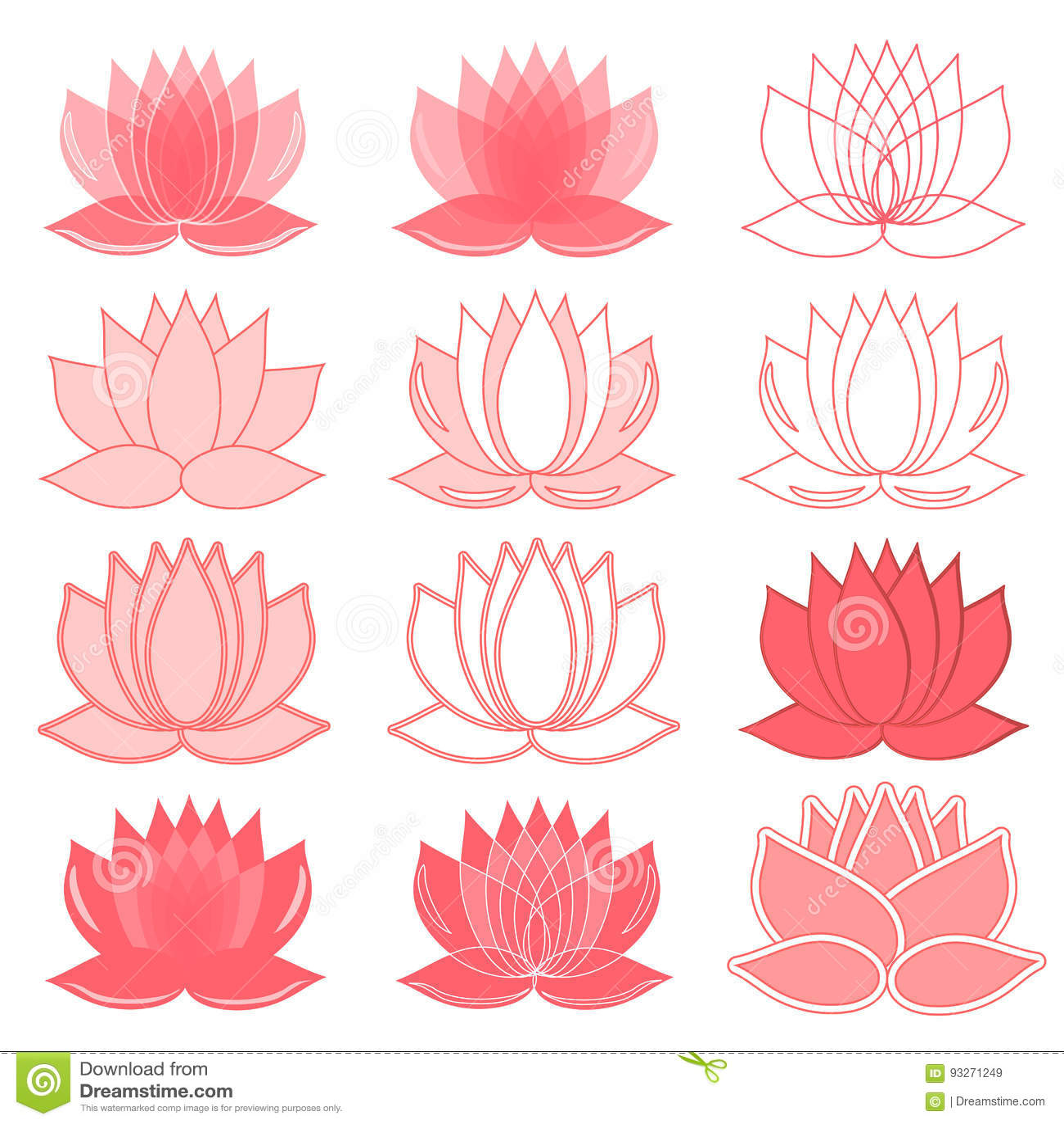 Set Of Lotus Flowers Lotus Symbol Or Icon For Spa Salon Yoga Class