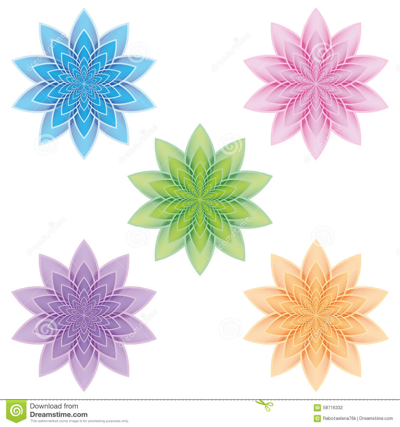 Set Of Lotus Flowers On A White Background Stock Vector