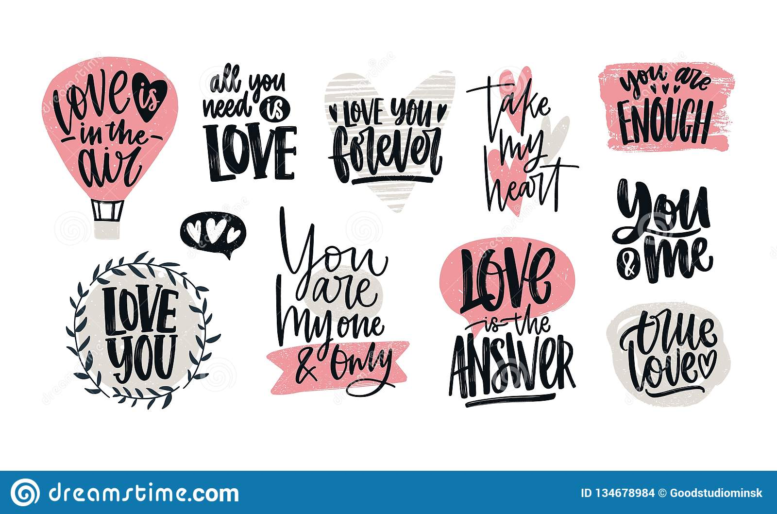 set of love confessions r tic slogans or quotes handwritten