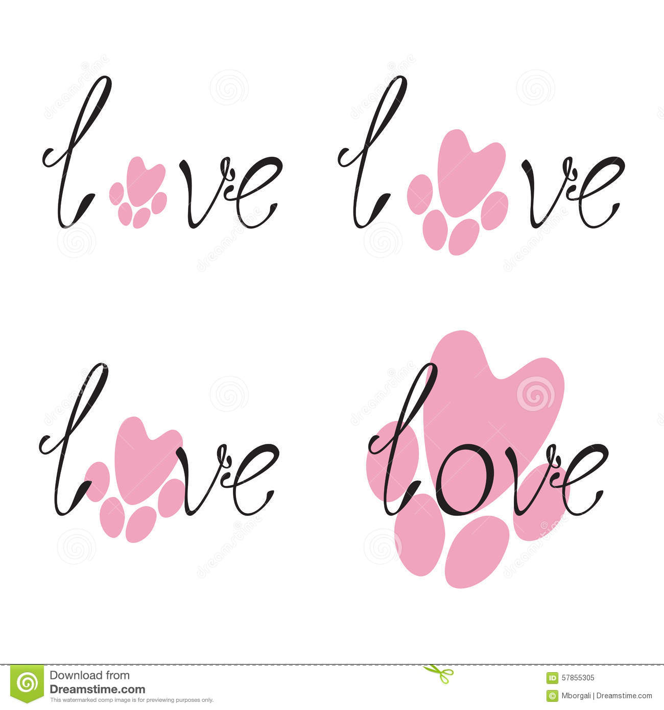 Set Of Love Lettering And Paw Print Stock Vector - Image ...