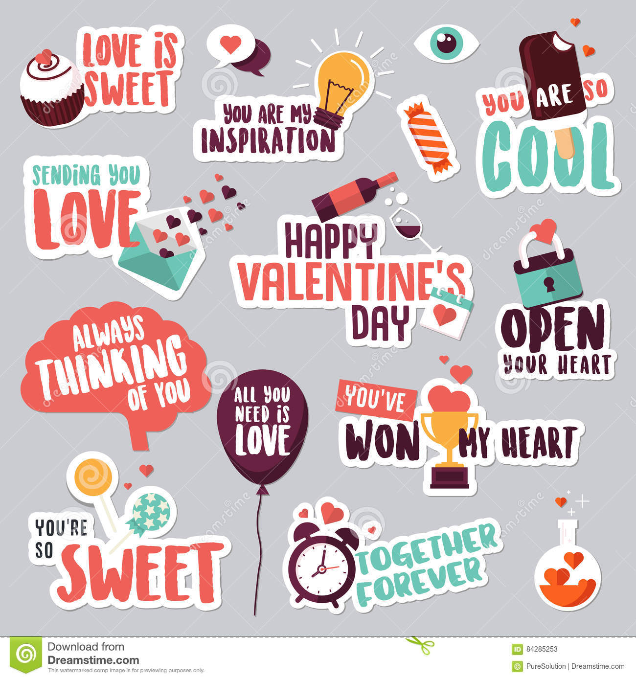 Sweet and funny stickers for mobile messages chat social media networking web design stickers for valentine day wedding love messages