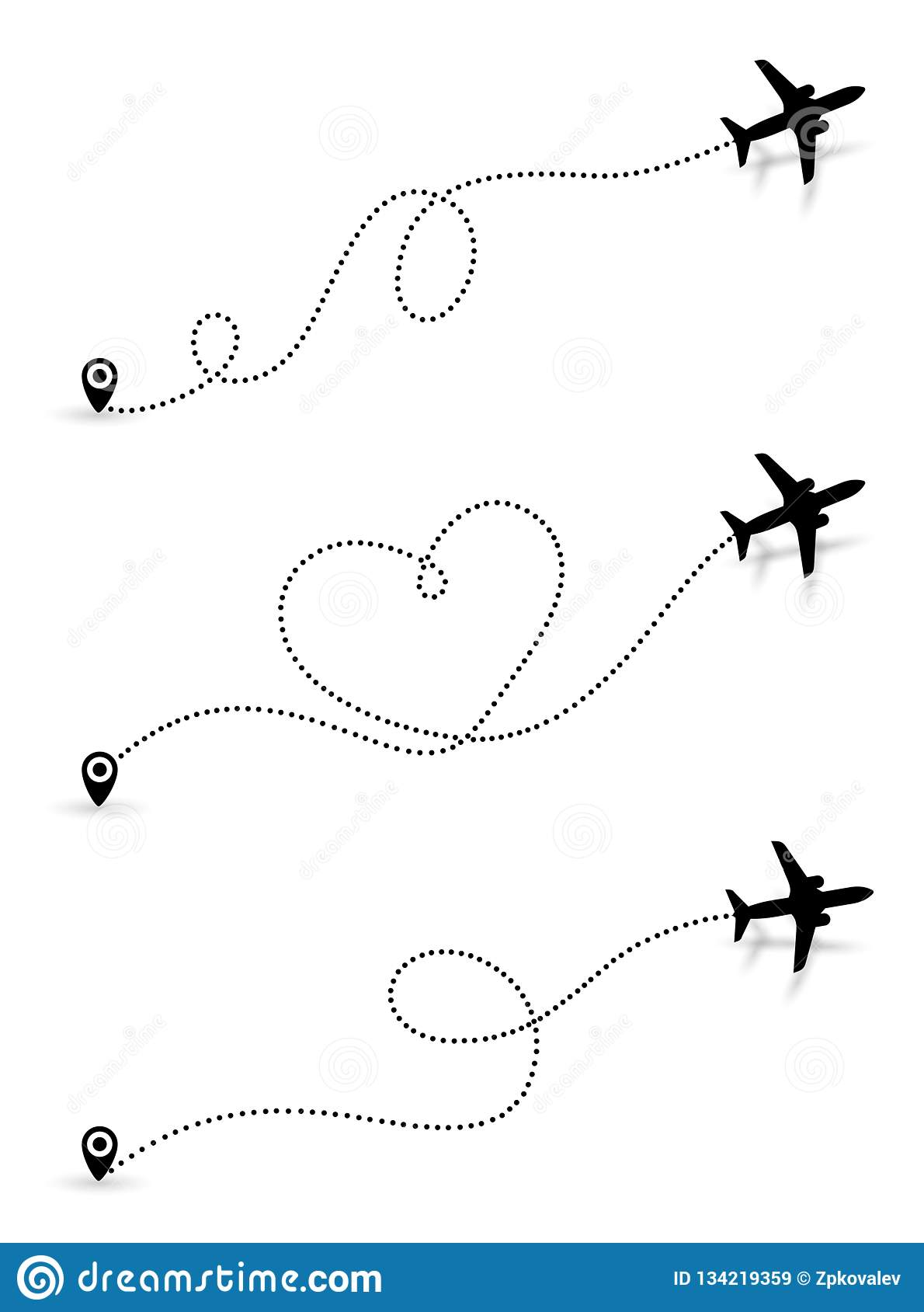 Set of Love travel route. Black Airplane line path icon of air plane flight route with start point and dash line trace. Vector