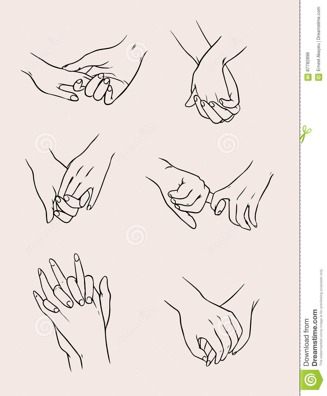Set of lovers couples holding hands people in love collection illustration