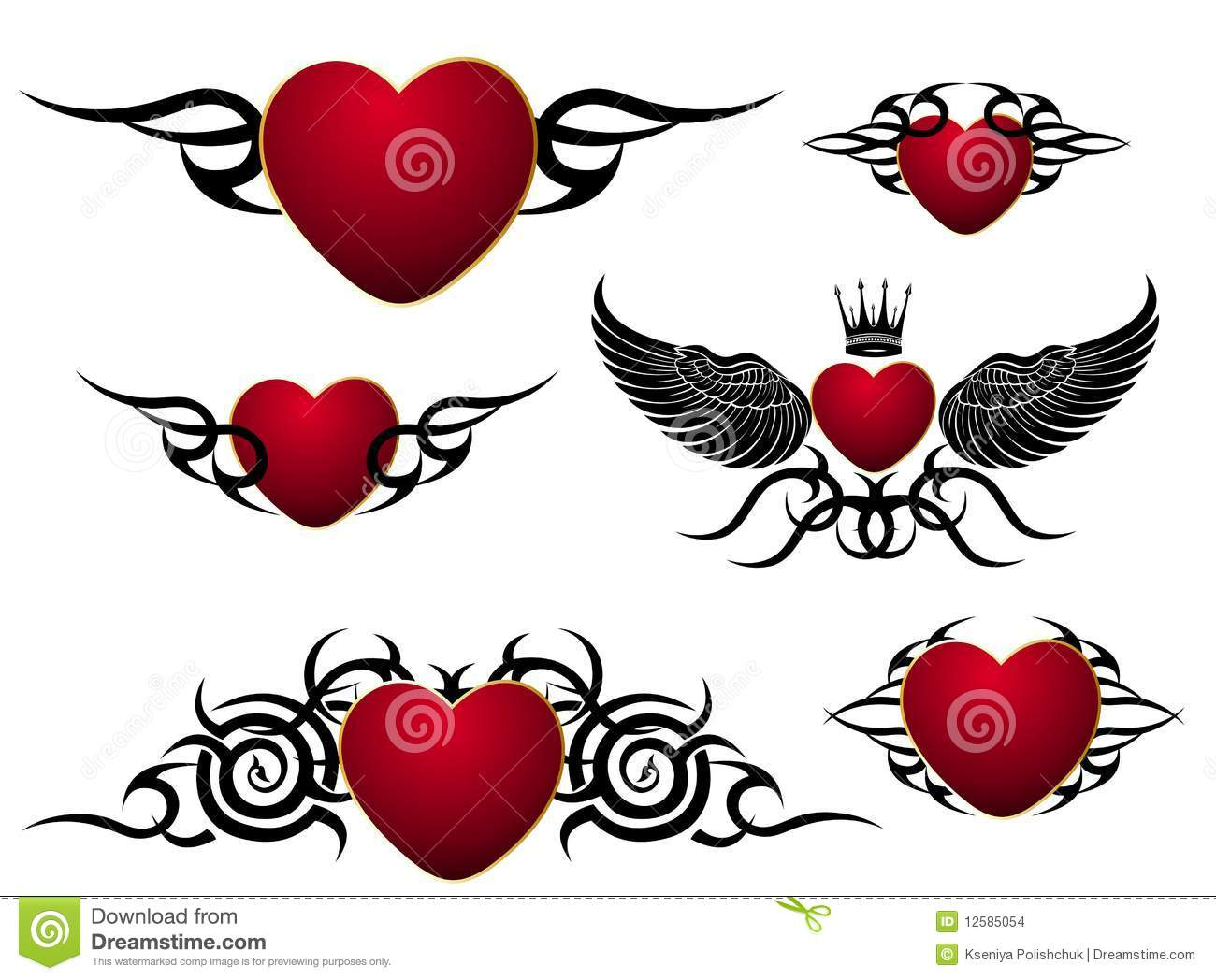 Set Of Loving Hearts,tattoo Design Stock Images - Image: 12585054
