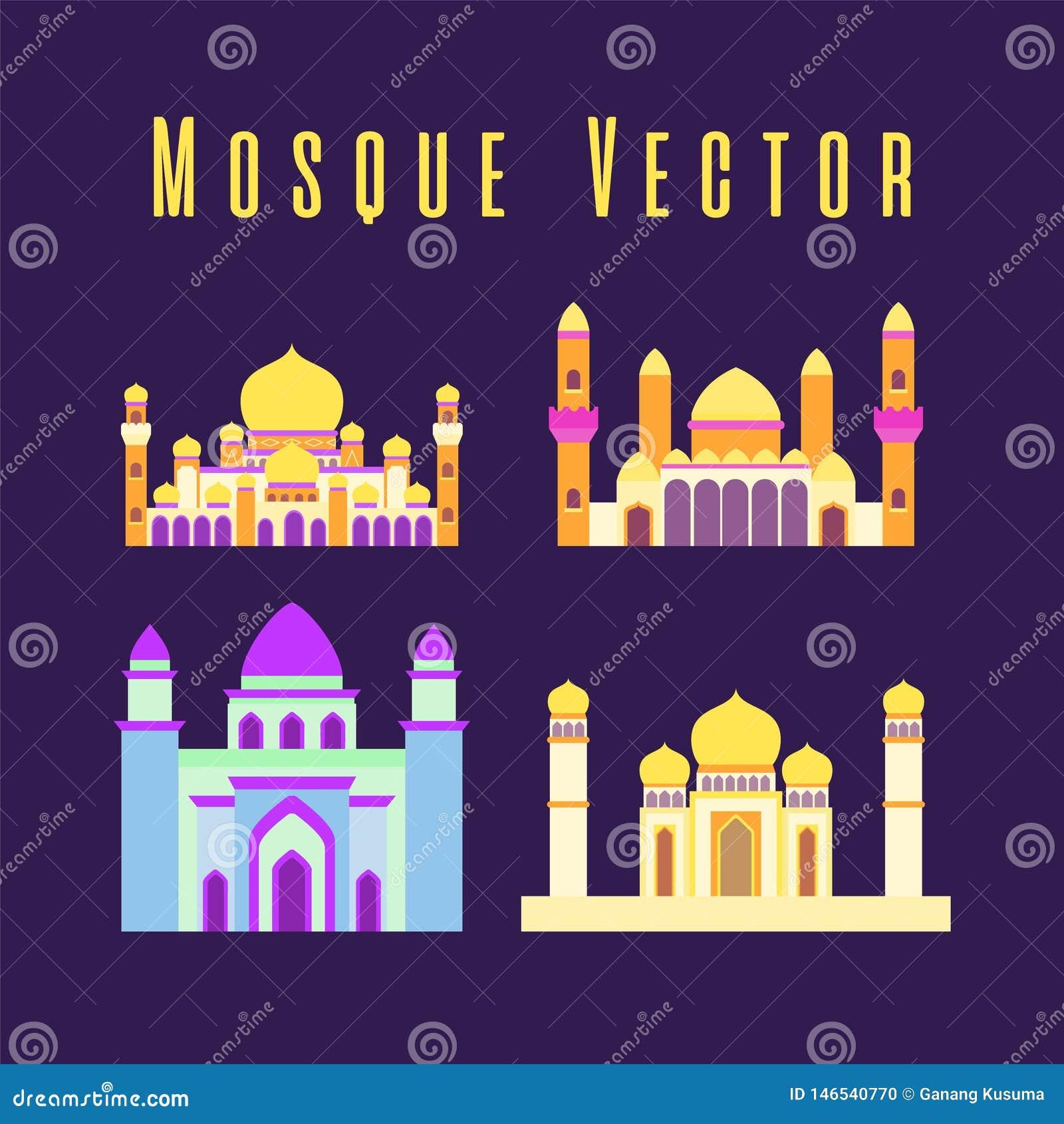 Set lub kolekcja islamski meczet odizolowywali?my p?askiego projekt z pastelowym kolorowym, wektorowym ilustracyjnym meczetem dla