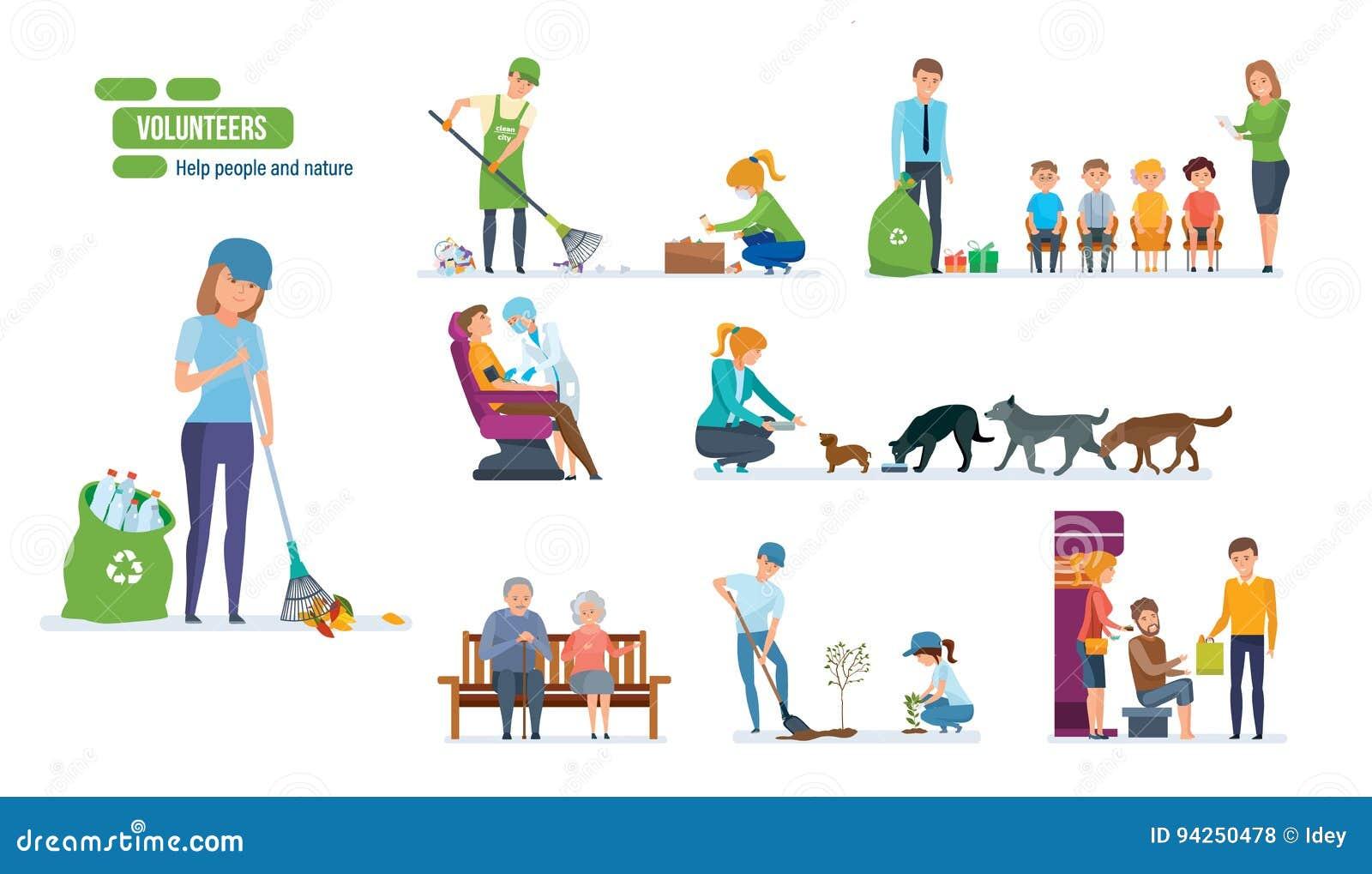 Set ludzie pomaga starszych osob, zwierząt, flancowania i cleaning miastu,
