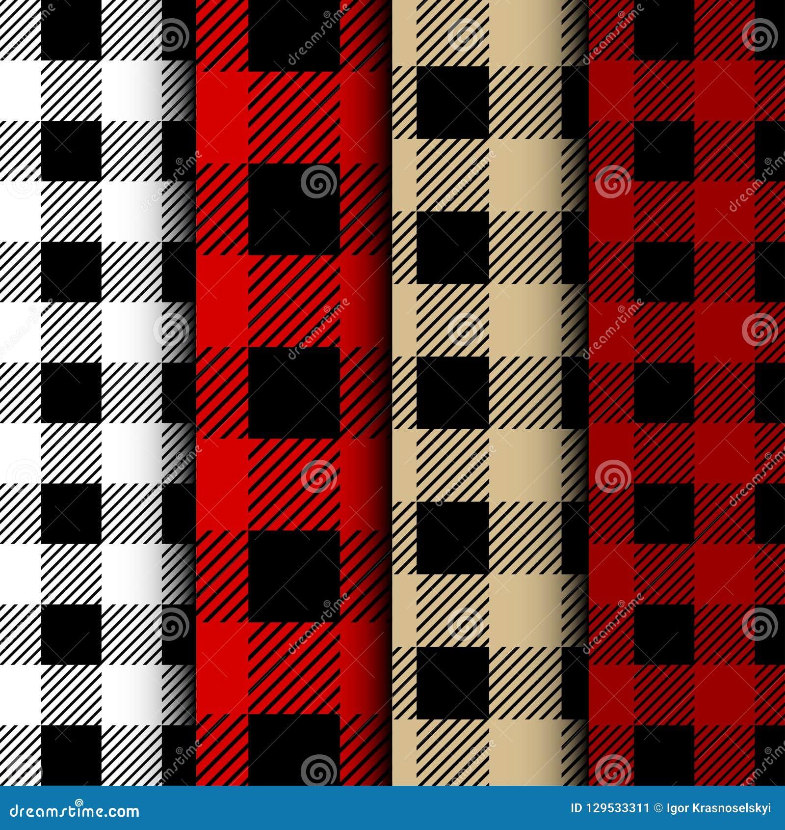 Set of Lumberjack Buffalo Plaid Seamless Pattern. Red and Black Lumberjack
