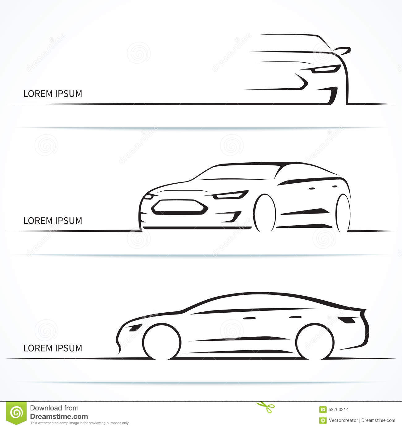 Set Of Luxury Car Silhouettes Vector Illustration Stock Vector