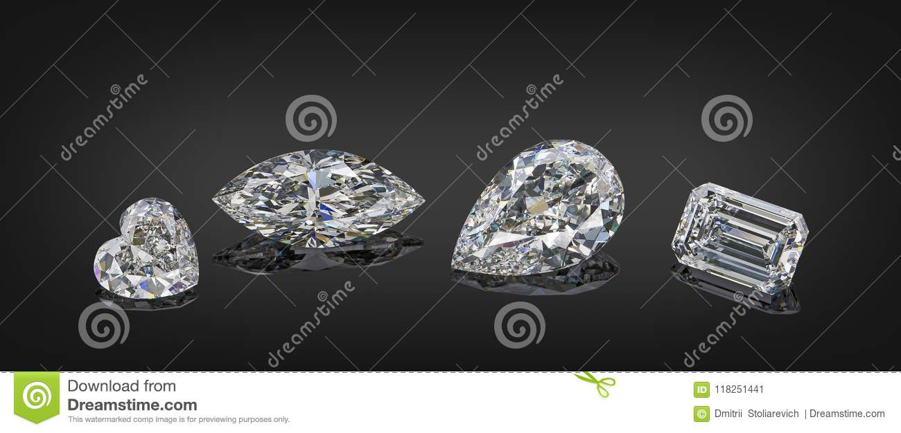 Set of luxury colorless transparent sparkling gemstones of various cut shape diamonds collage isolated on black background