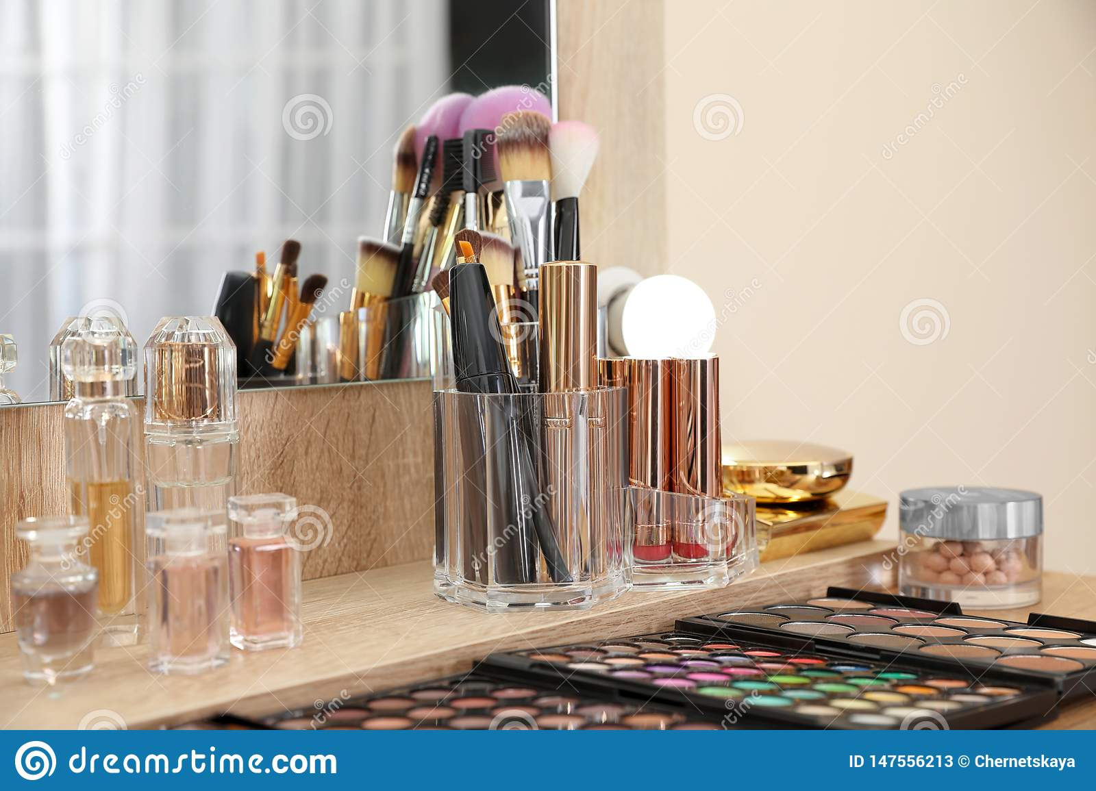 Set Of Luxury Makeup Products Accessories And Perfumes On Dressing Table In Room Stock Image Image Of Copy Detail 147556213