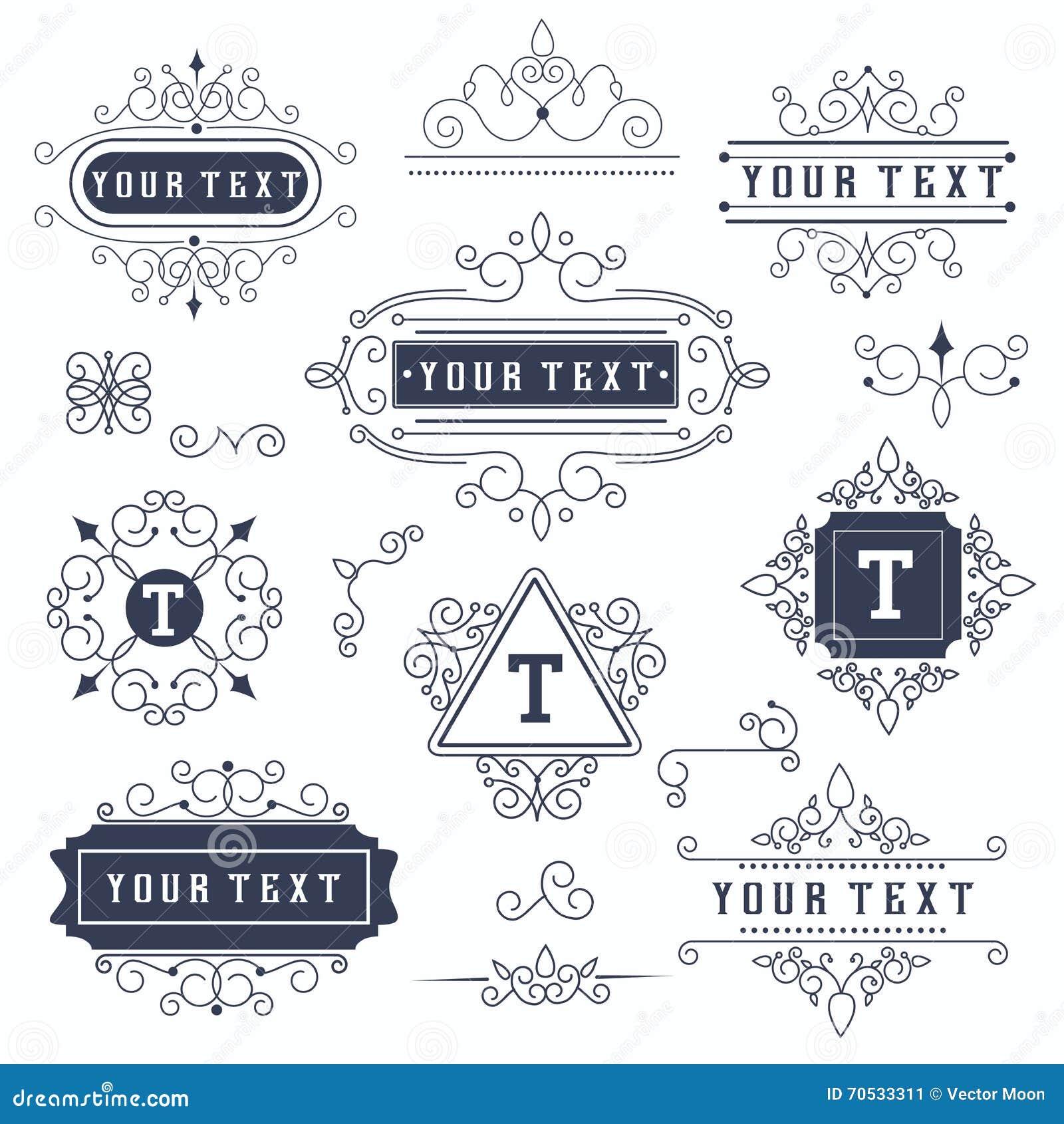 set luxury monogram template flourishes calligraphic elegant