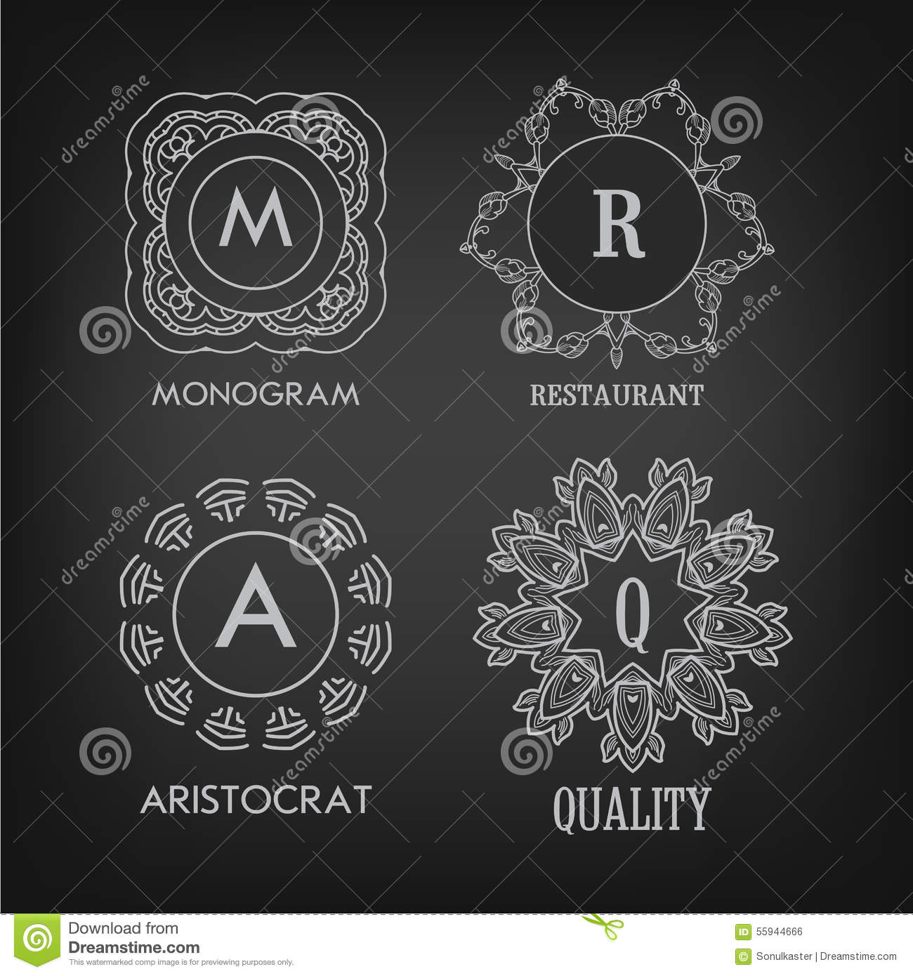 Set Of Monochrome Labels With Luxury Design