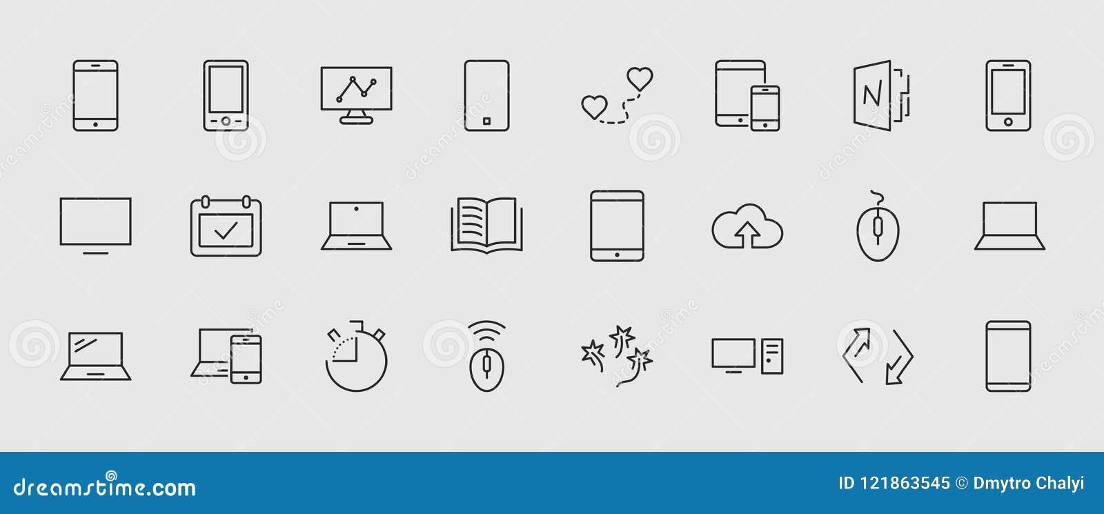 Set mądrze gadżety, przyrząda, komputerowy wyposażenie i elektronika i, Urządzenie elektroniczne ikony dla sieci i wiszącej ozdob