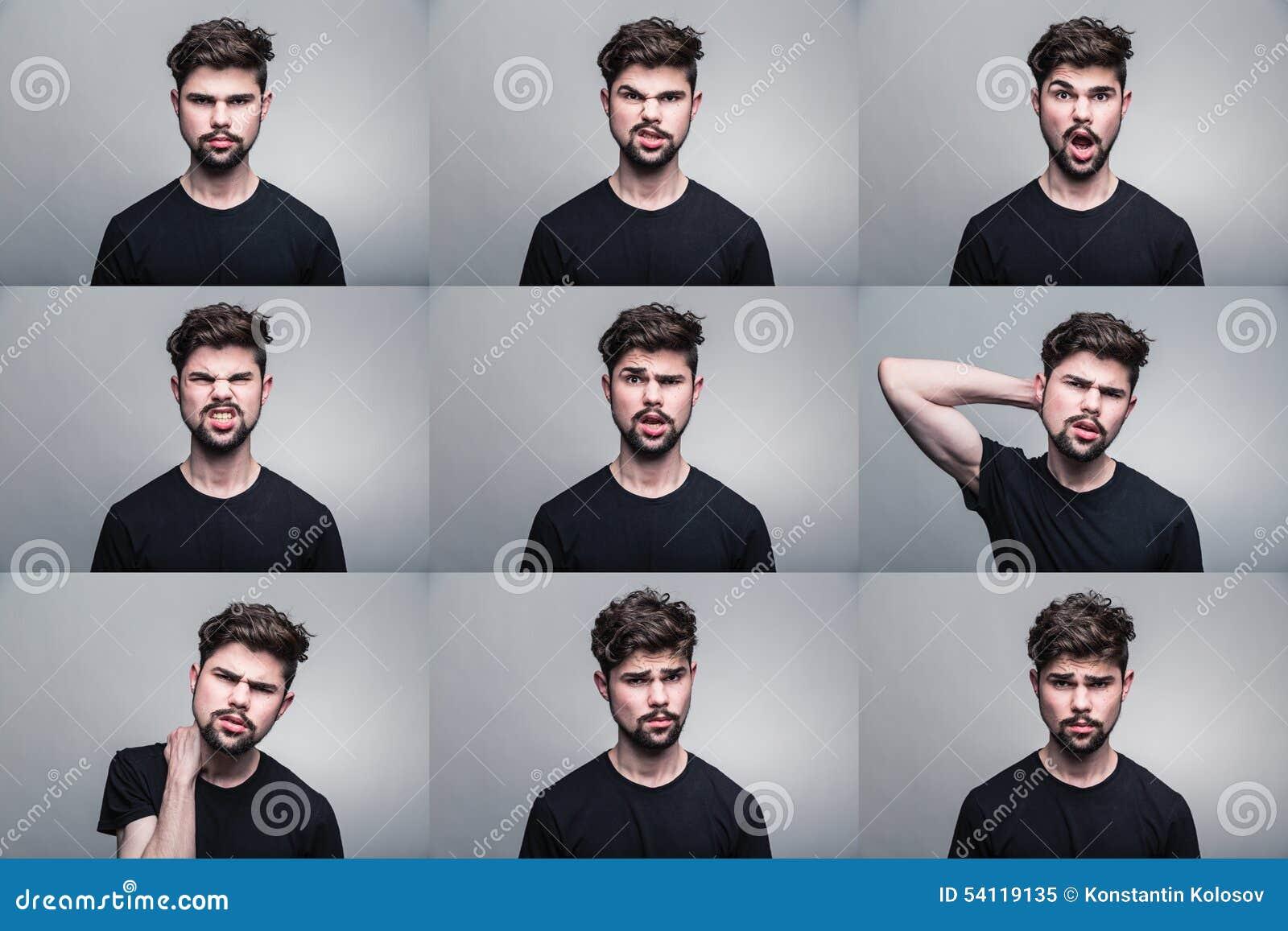 Set młodych człowieków portrety z różnymi emocjami